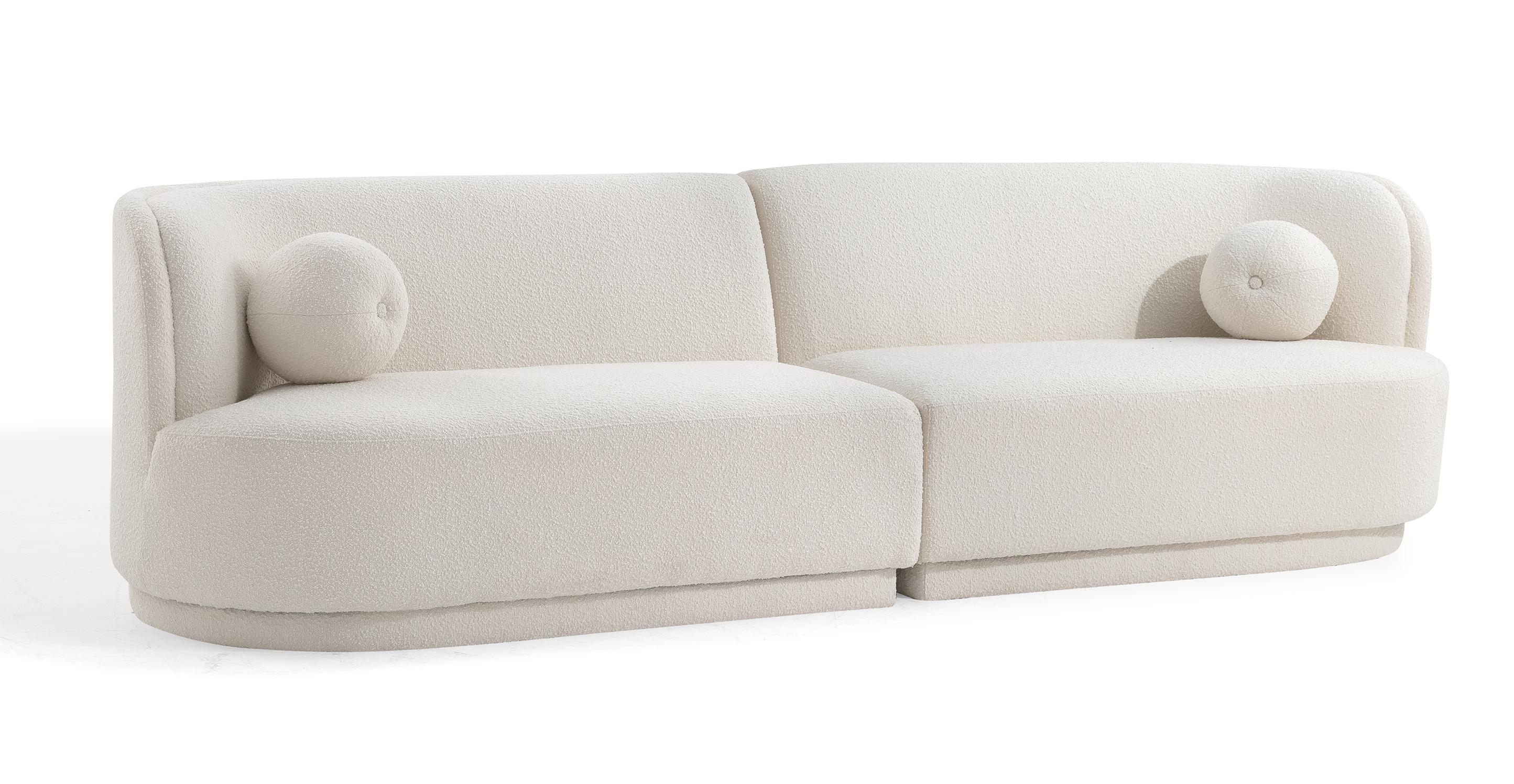 "Swoosh Modular 119"" Ouray 2-pc Sofa, Blanc Boucle"