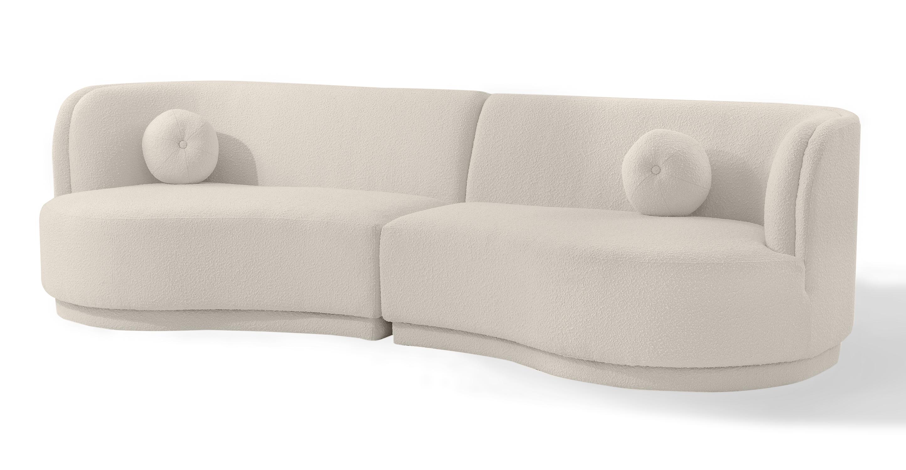 "Swoosh Modular 119"" Solvang 2-pc Sofa, Blanc Boucle"