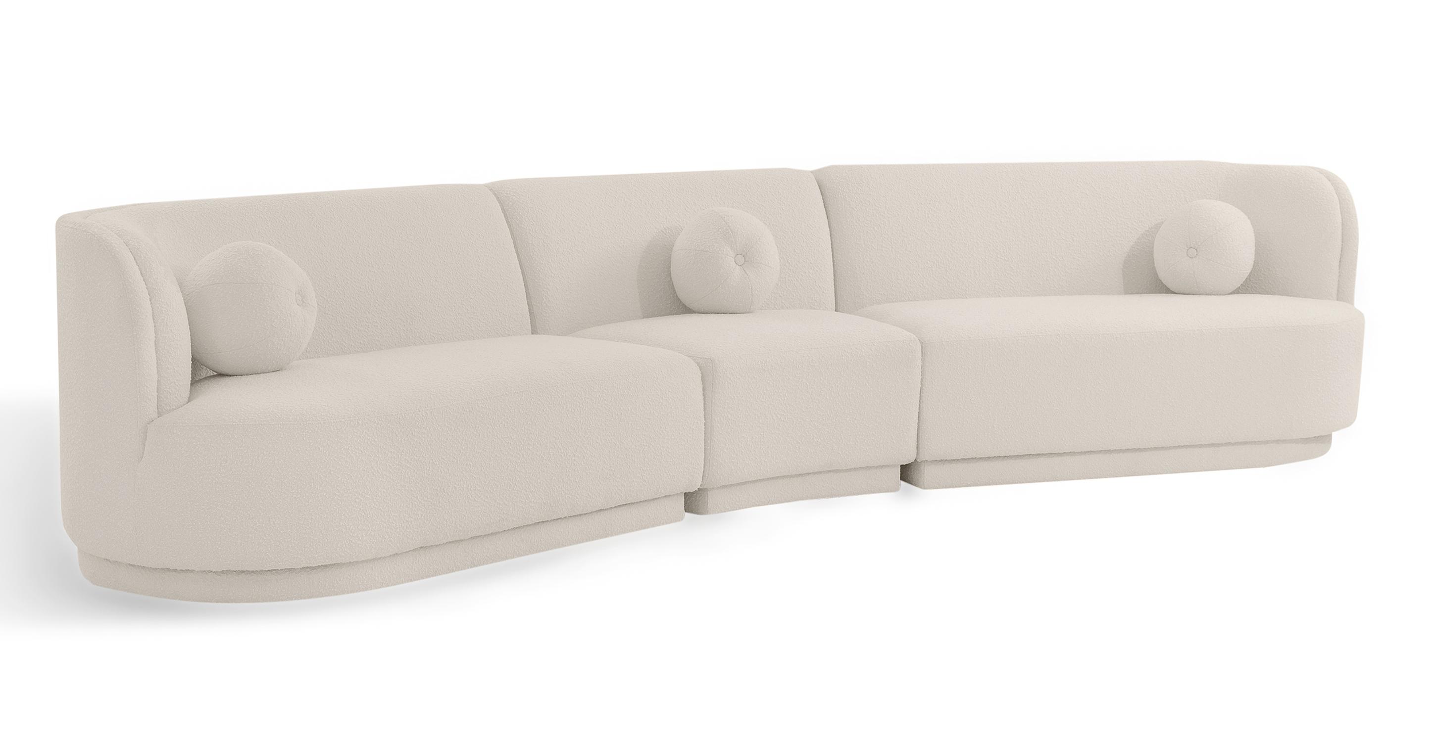 "Swoosh Modular 147"" Leavenworth 3-pc Sofa, Blanc Boucle"