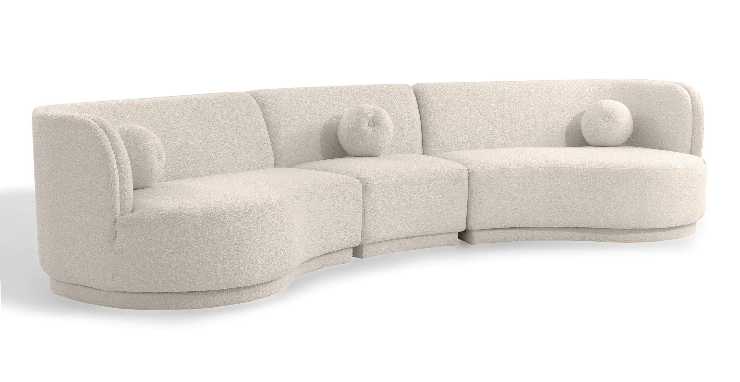 "Swoosh Modular 147"" Framingham 3-pc Sofa, Blanc Boucle"