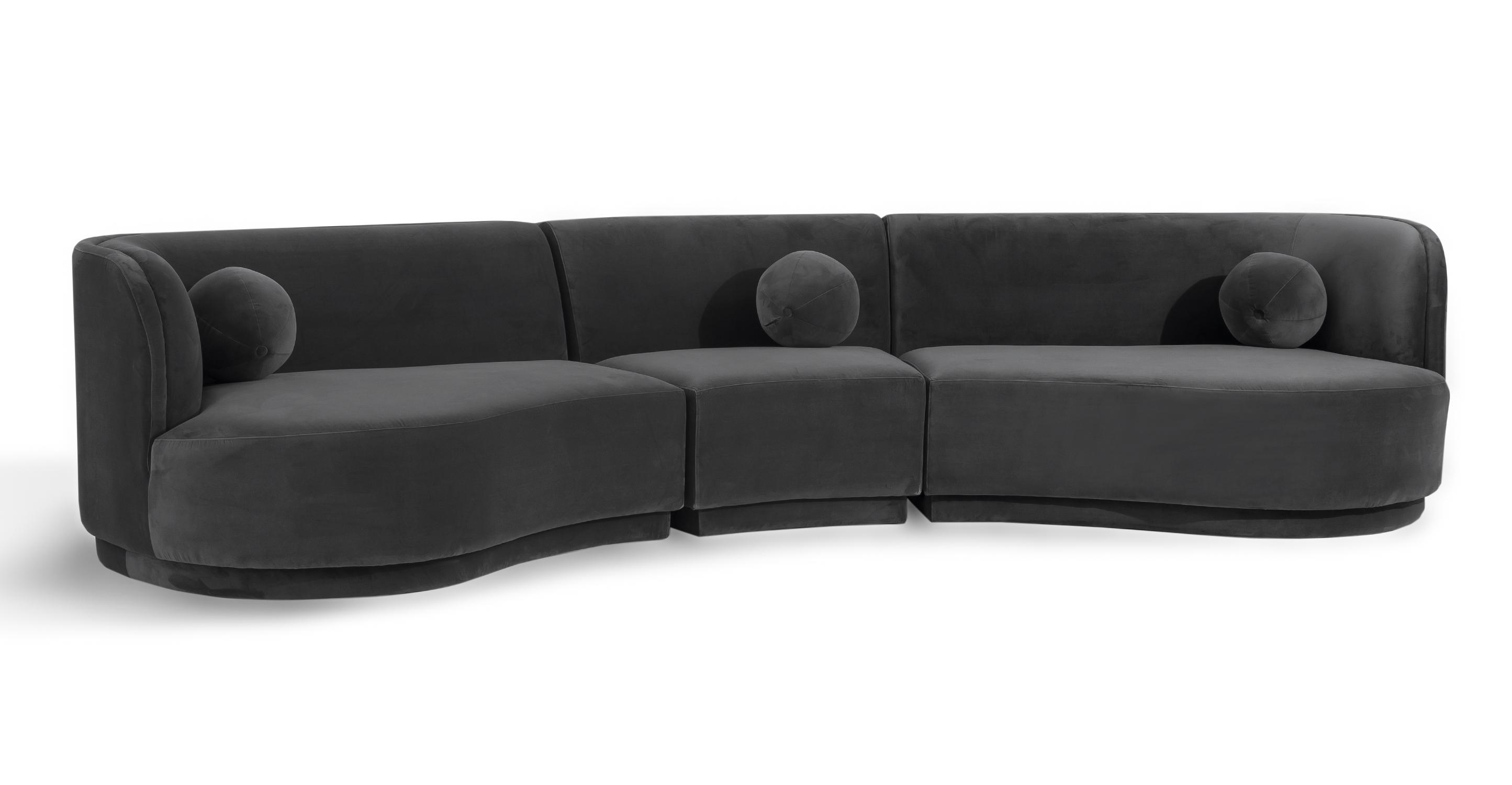 """Swoosh Modular 147"""" Framingham 3-pc Sofa, Fossil Velvet"""