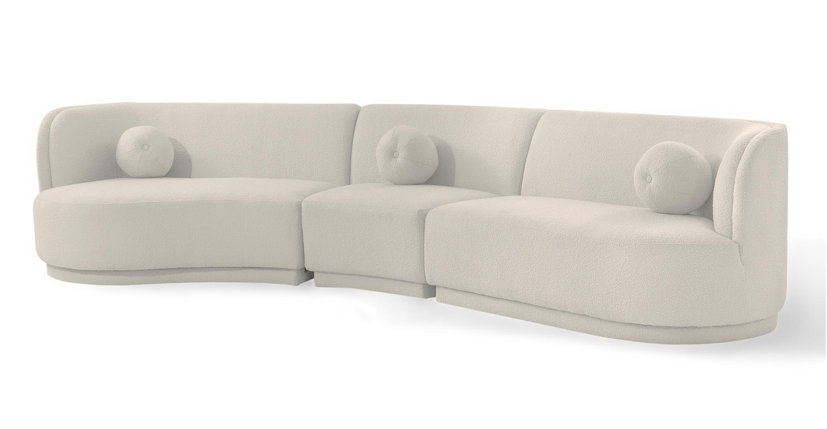 """Swoosh Modular 147"""" Moab West 3-pc Sofa, Blanc Boucle"""