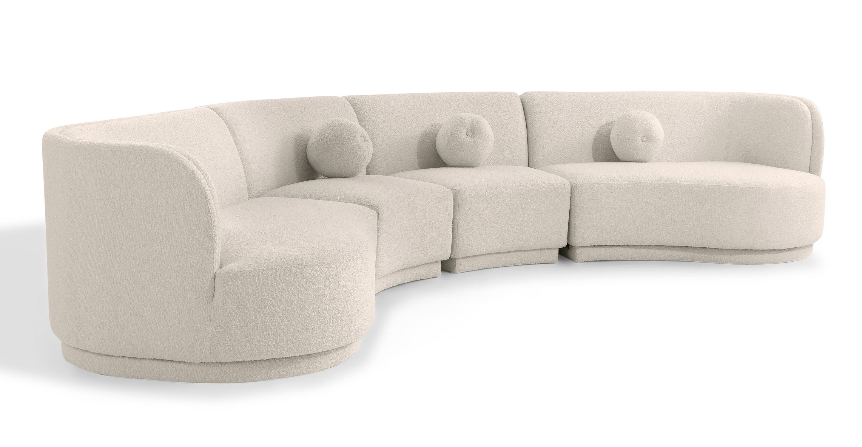 "Swoosh Modular 158"" Galveston 4-pc Sofa, Blanc Boucle"