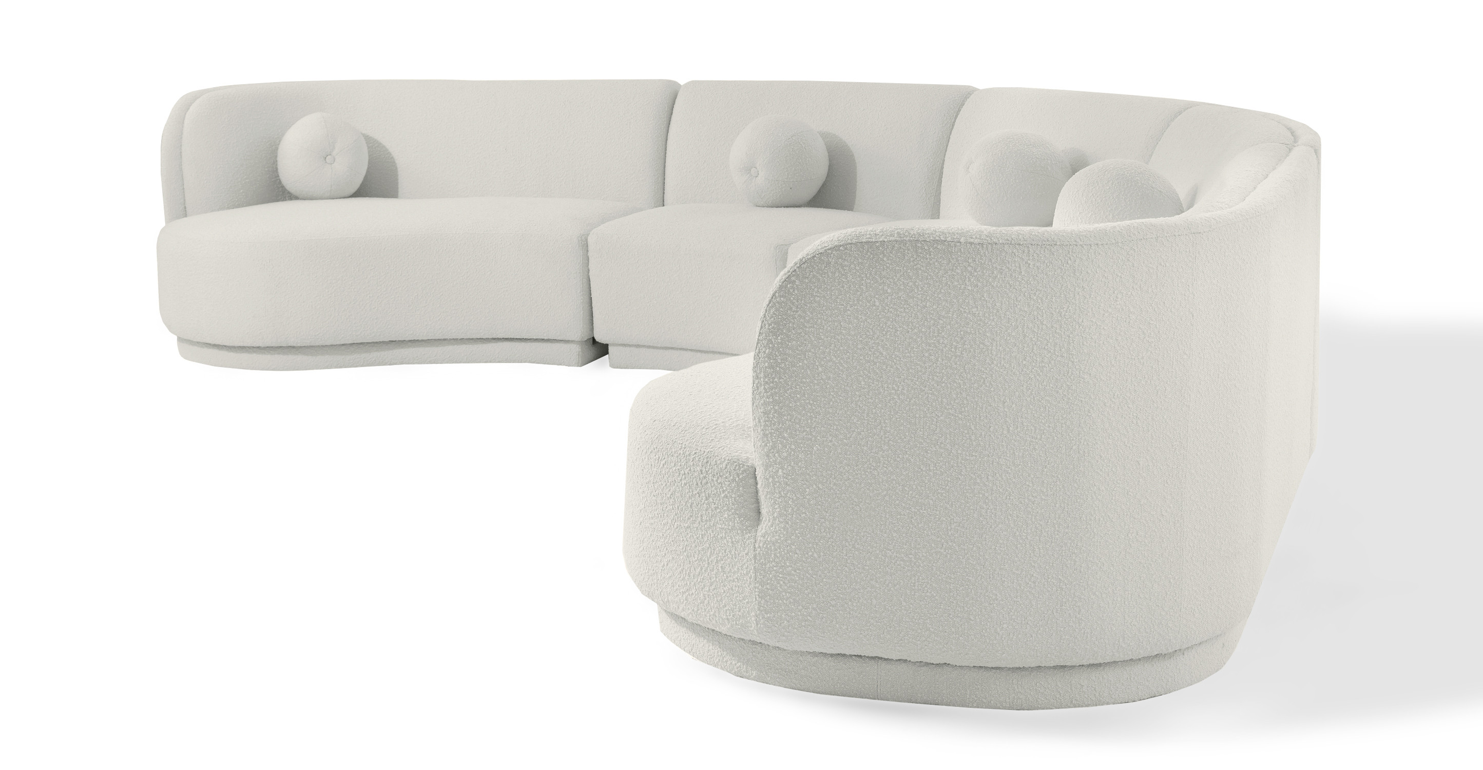 "Swoosh Modular 147"" Healdsburg 5-pc Sofa, Blanc Boucle"