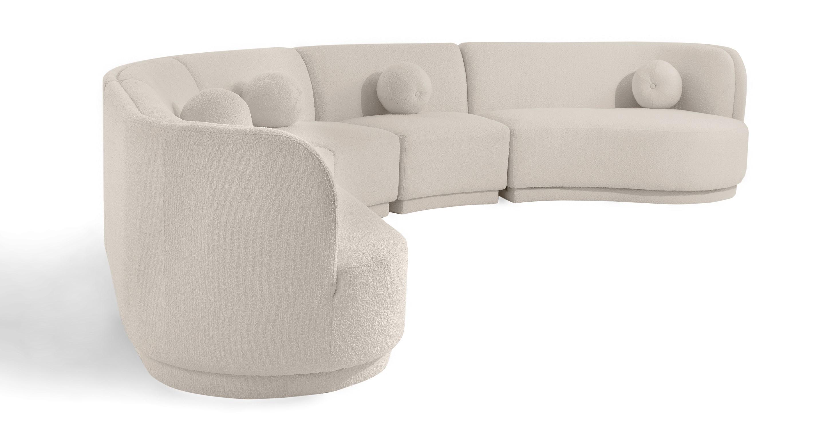 "Swoosh Modular 147"" Chimayo East 5-pc Sofa, Blanc Boucle"