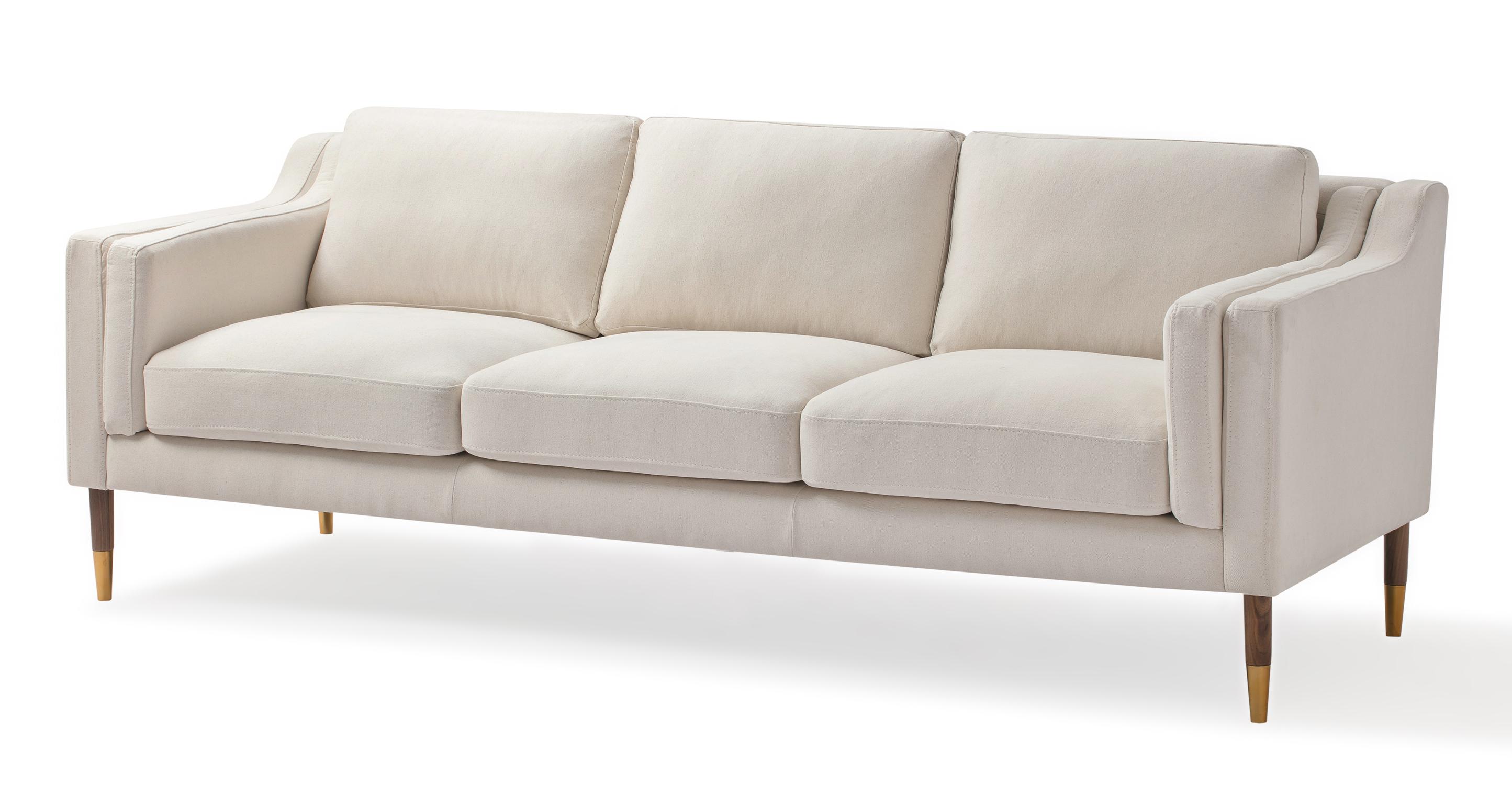 """Monroe Luxe 87"""" Fabric Sofa, Canvas"""