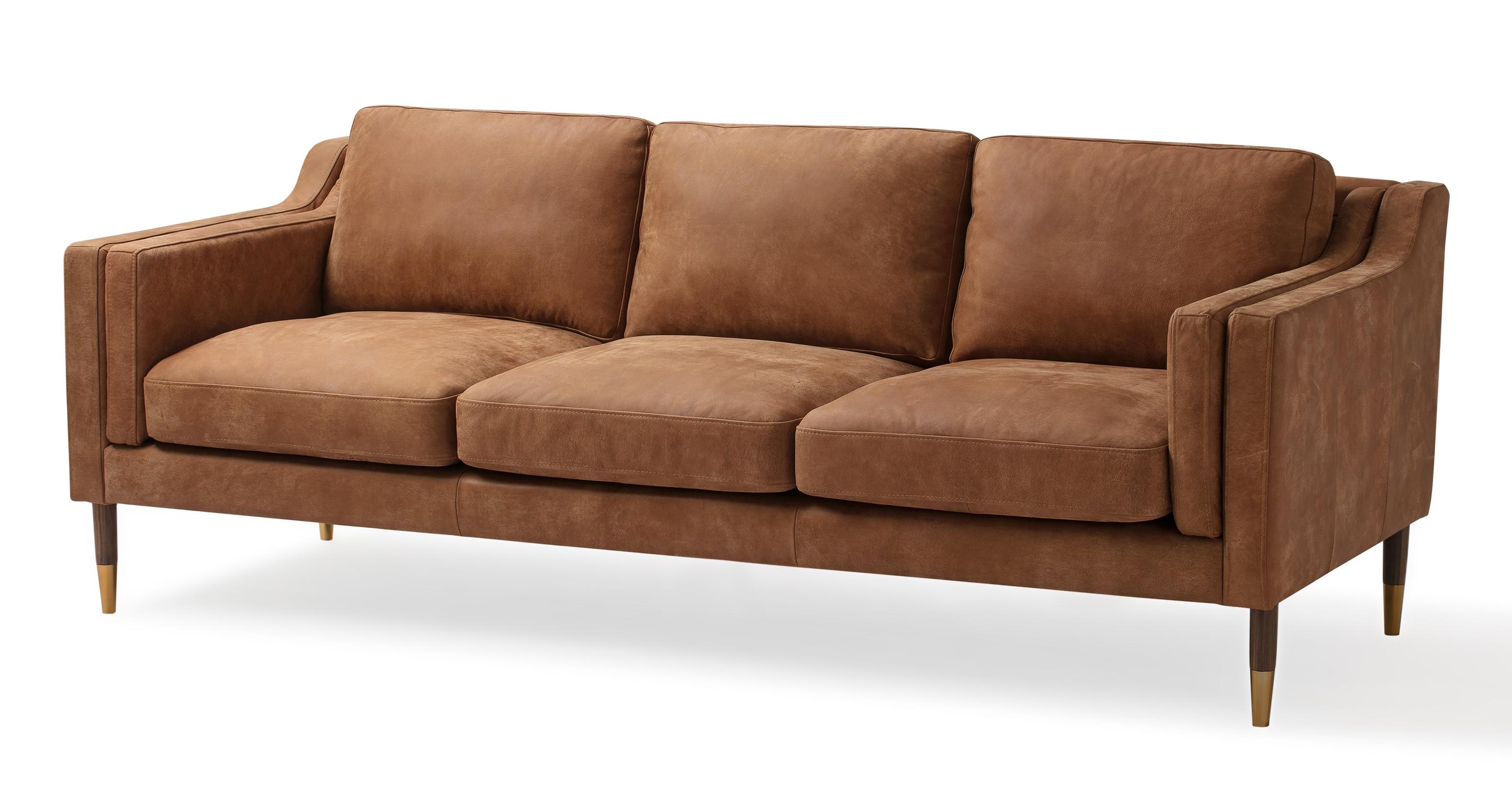 "Monroe Luxe 87"" Leather Sofa, Cognac"
