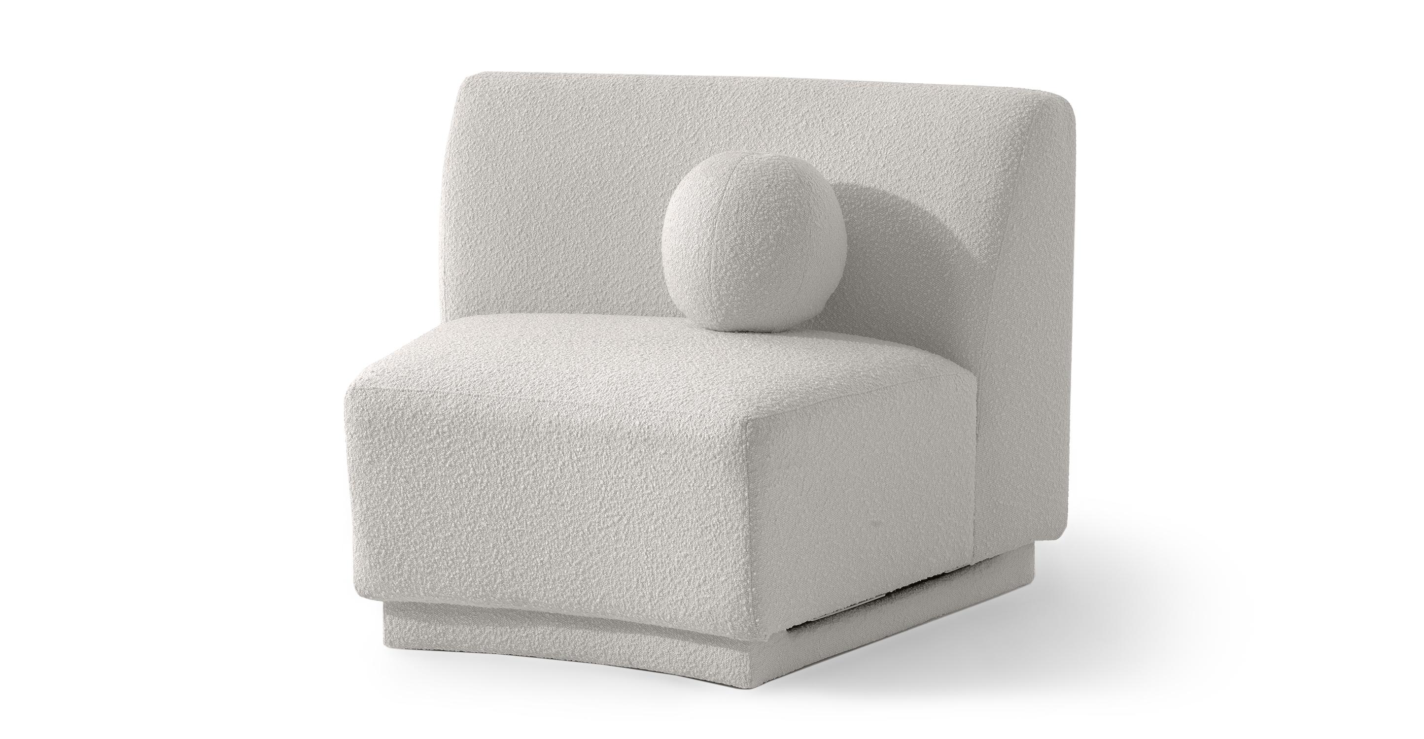 """Swoosh Modular 43"""" Center Seat, Blanc Boucle"""