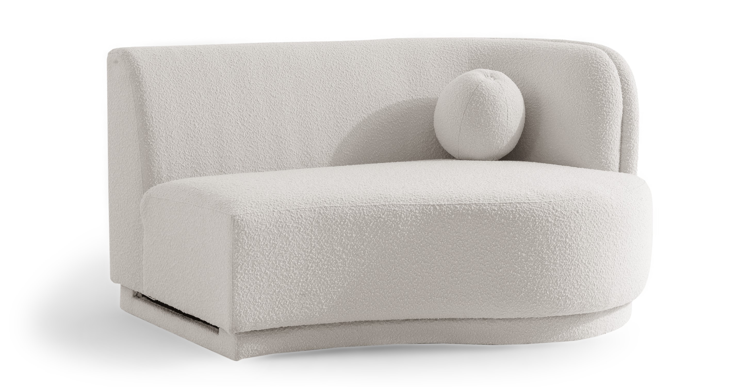 """Swoosh Modular 60"""" 2-Seater Arm Chaise Right, Blanc Boucle"""