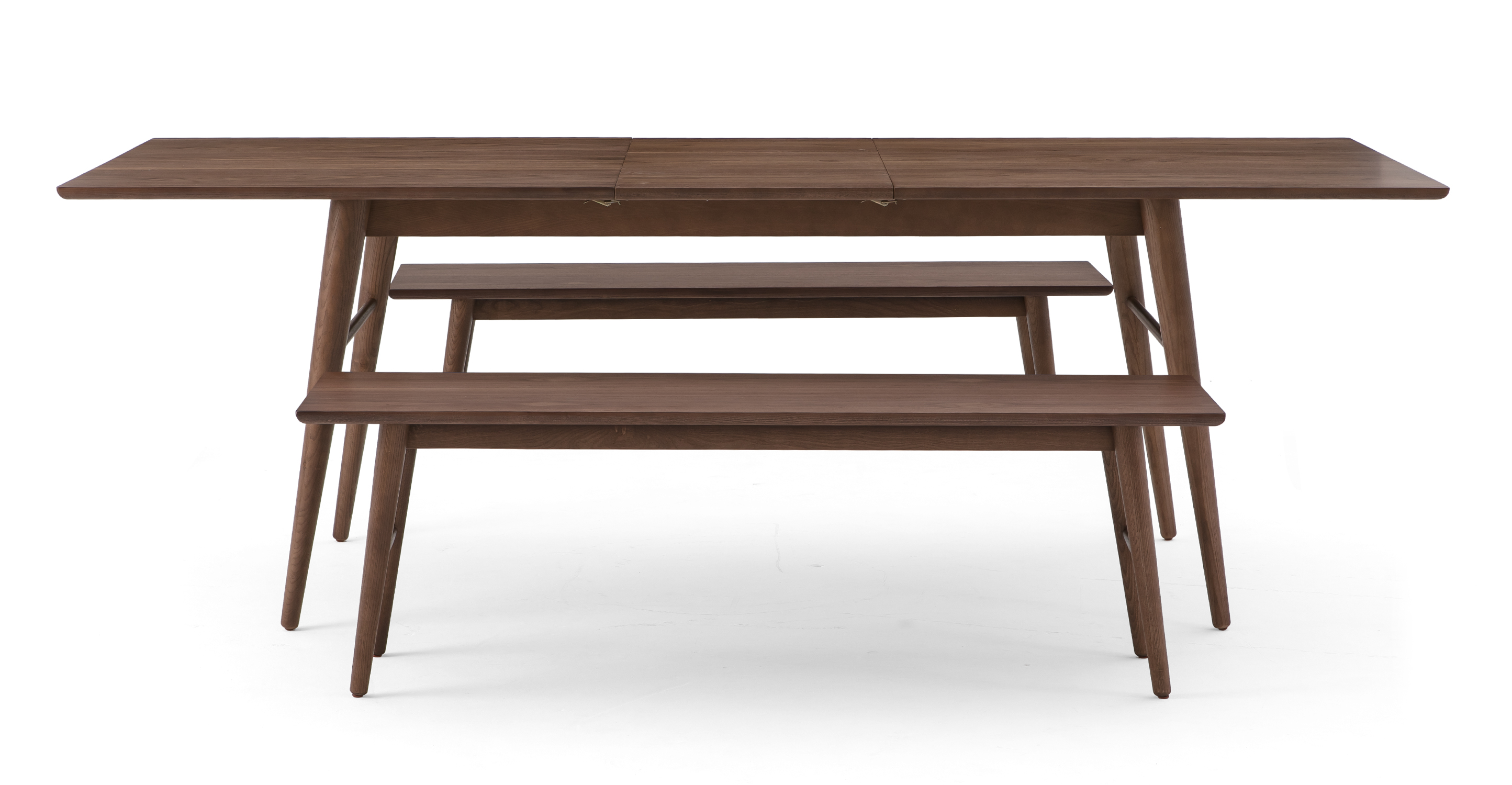 """Smiley 71-89"""" Extendable Dining Table (2) Benches, Walnut"""