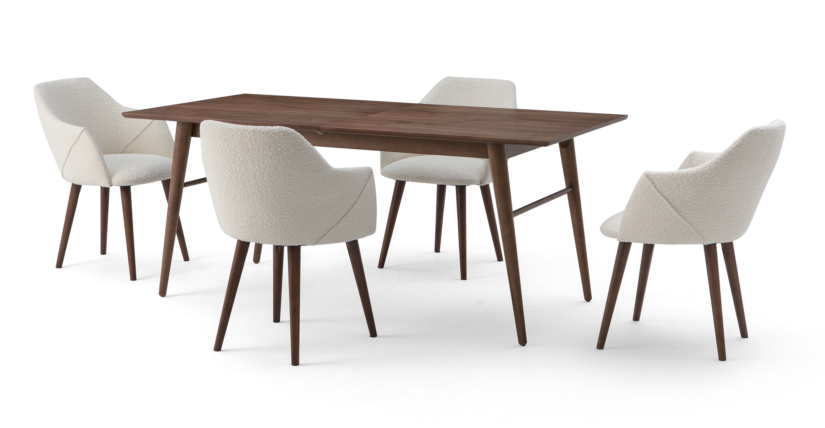 """Smiley 71-89"""" Extendable Dining Table (4) Berki Chairs, Walnut/Blanc Boucle"""