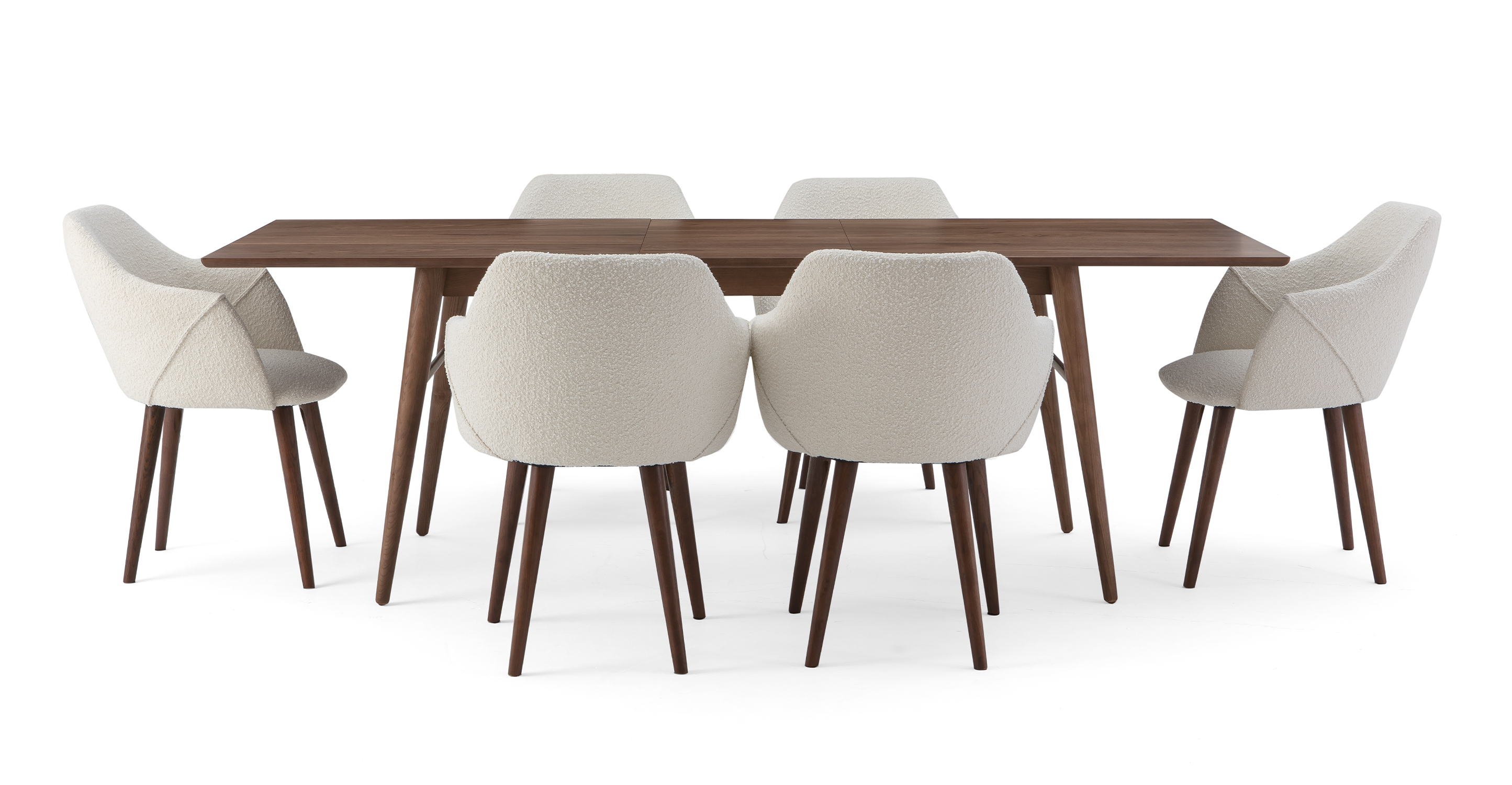 """Smiley 71-89"""" Extendable Dining Table (6) Berki Chairs, Walnut/Blanc Boucle"""