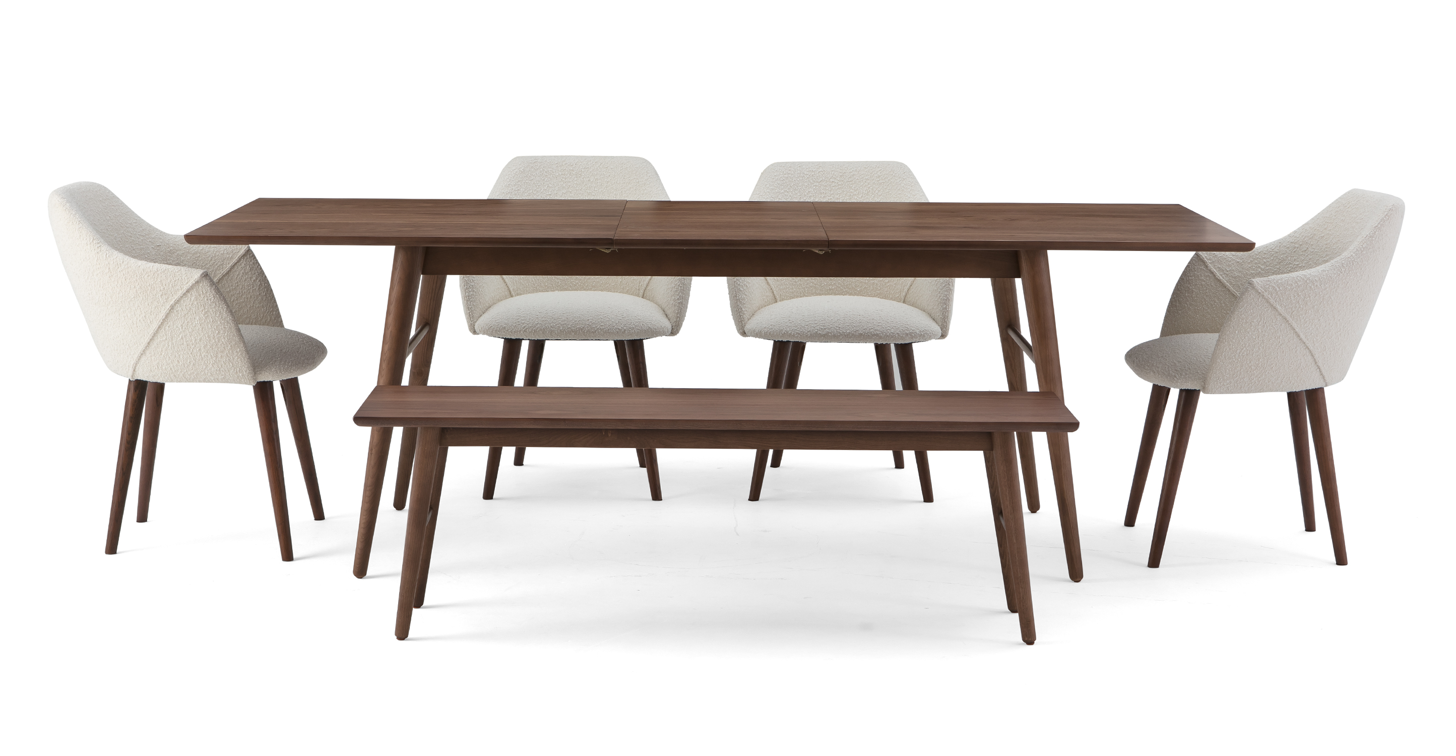 """Smiley 71-89"""" Extendable Dining Table (1) Bench (4) Berki Chairs, Walnut/Blanc Boucle"""