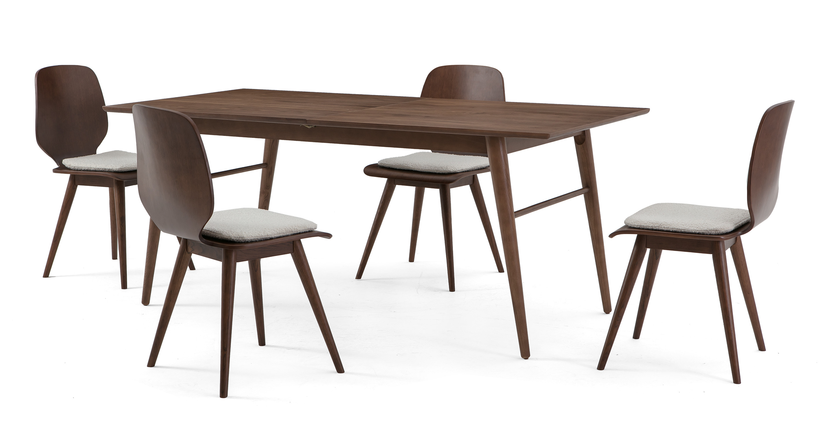 """Smiley 71-89"""" Extendable Dining Table (4) Oslo Chairs, Walnut"""