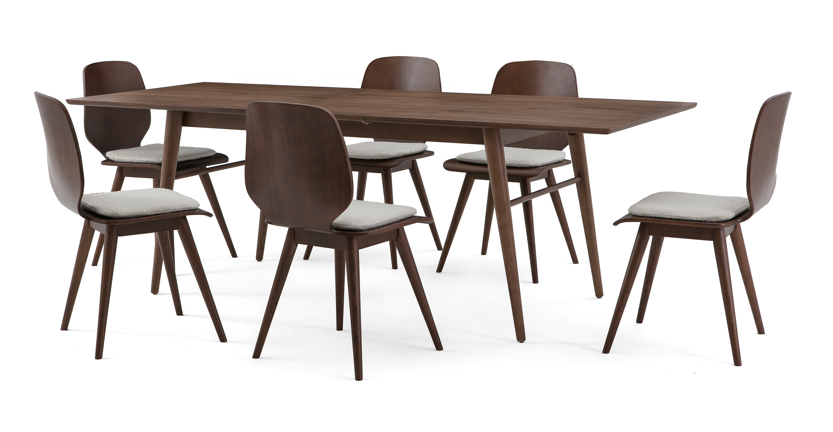 """Smiley 71-89"""" Extendable Dining Table (6) Oslo Chairs, Walnut"""