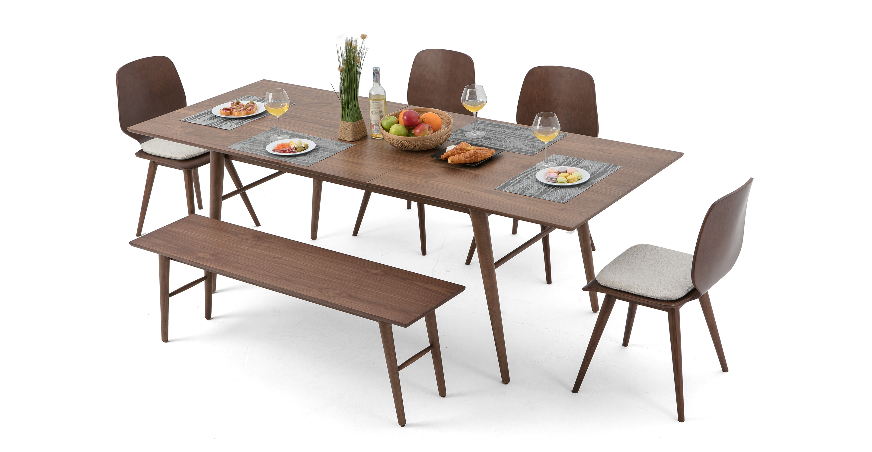 """Smiley 71-89"""" Extendable Dining Table (1) Bench (4) Oslo Chairs, Walnut"""