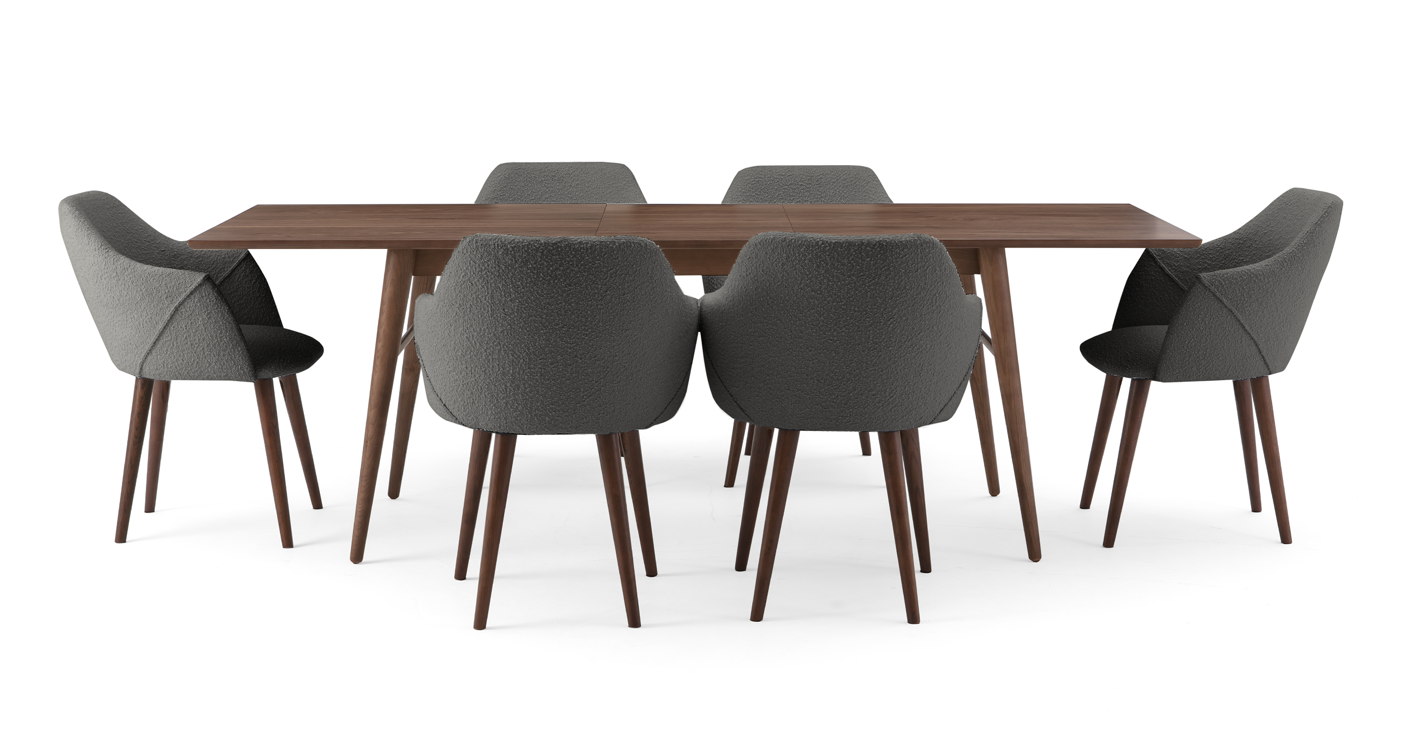 """Smiley 71-89"""" Extendable Dining Table (6) Berki Chairs, Walnut/Gris Boucle"""