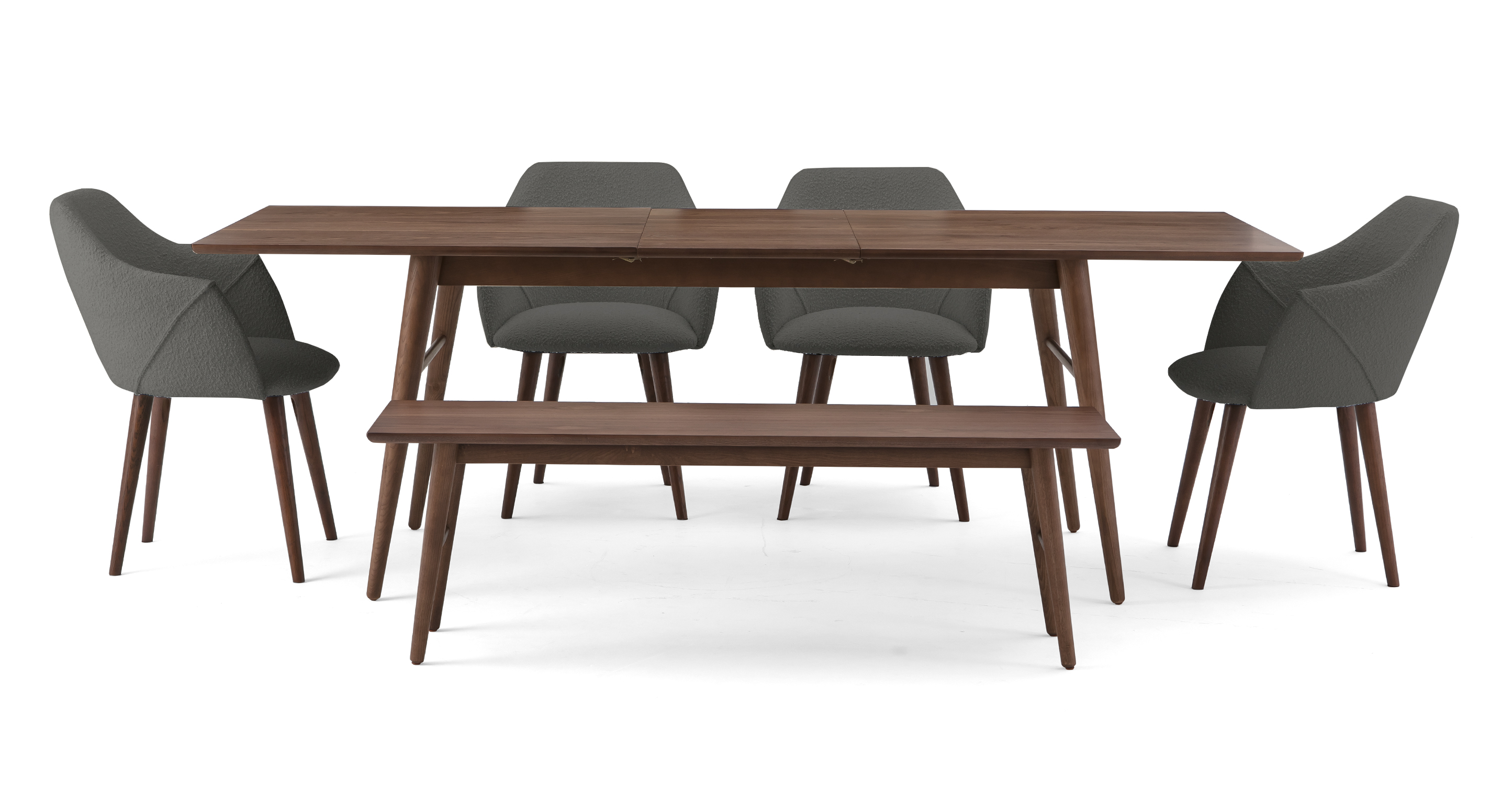 """Smiley 71-89"""" Extendable Dining Table (1) Bench (4) Berki Chairs, Walnut/Gris Boucle"""