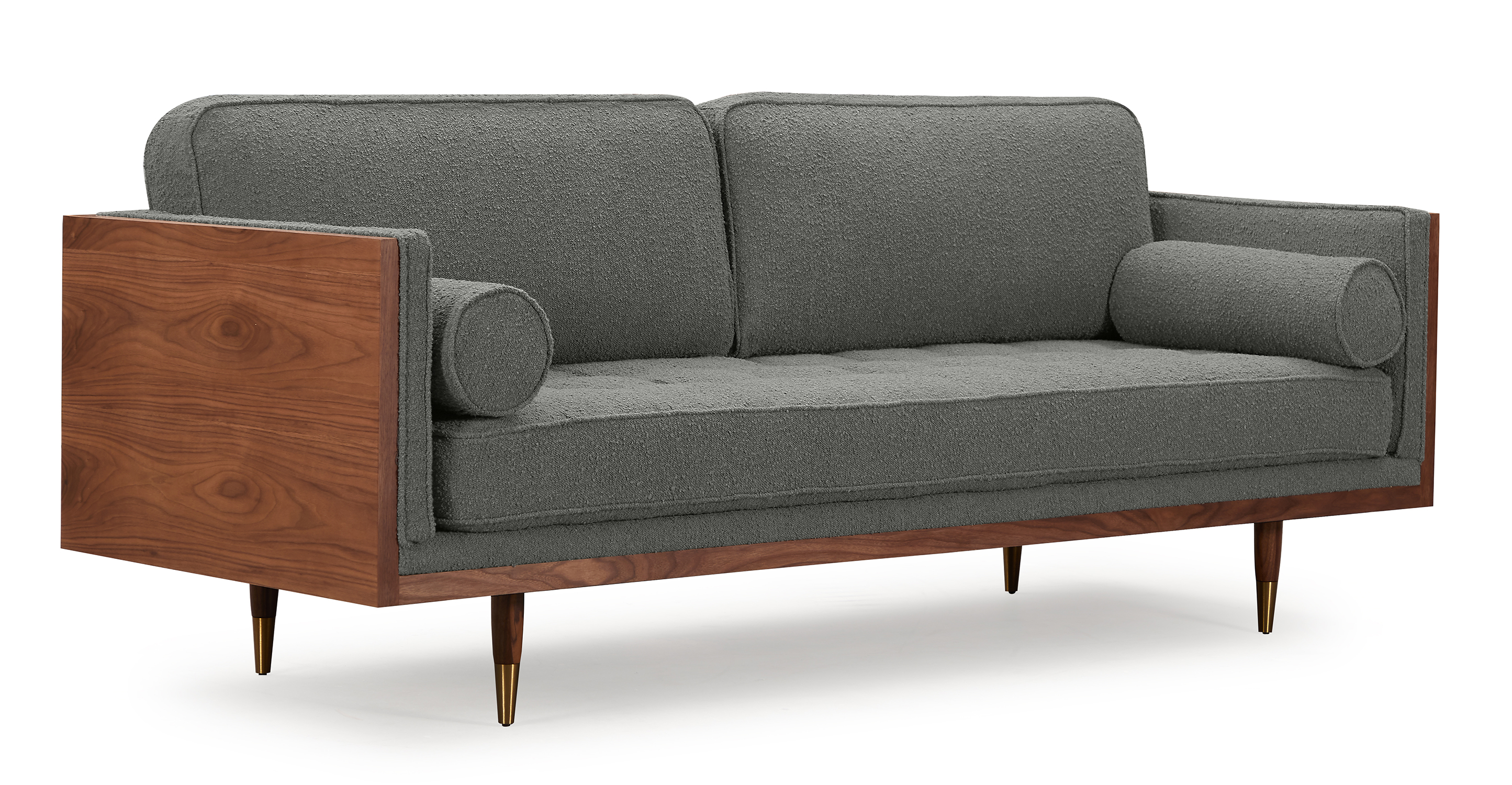 "Woodrow Skandi 87"" Fabric Sofa, Walnut/Gris Boucle"