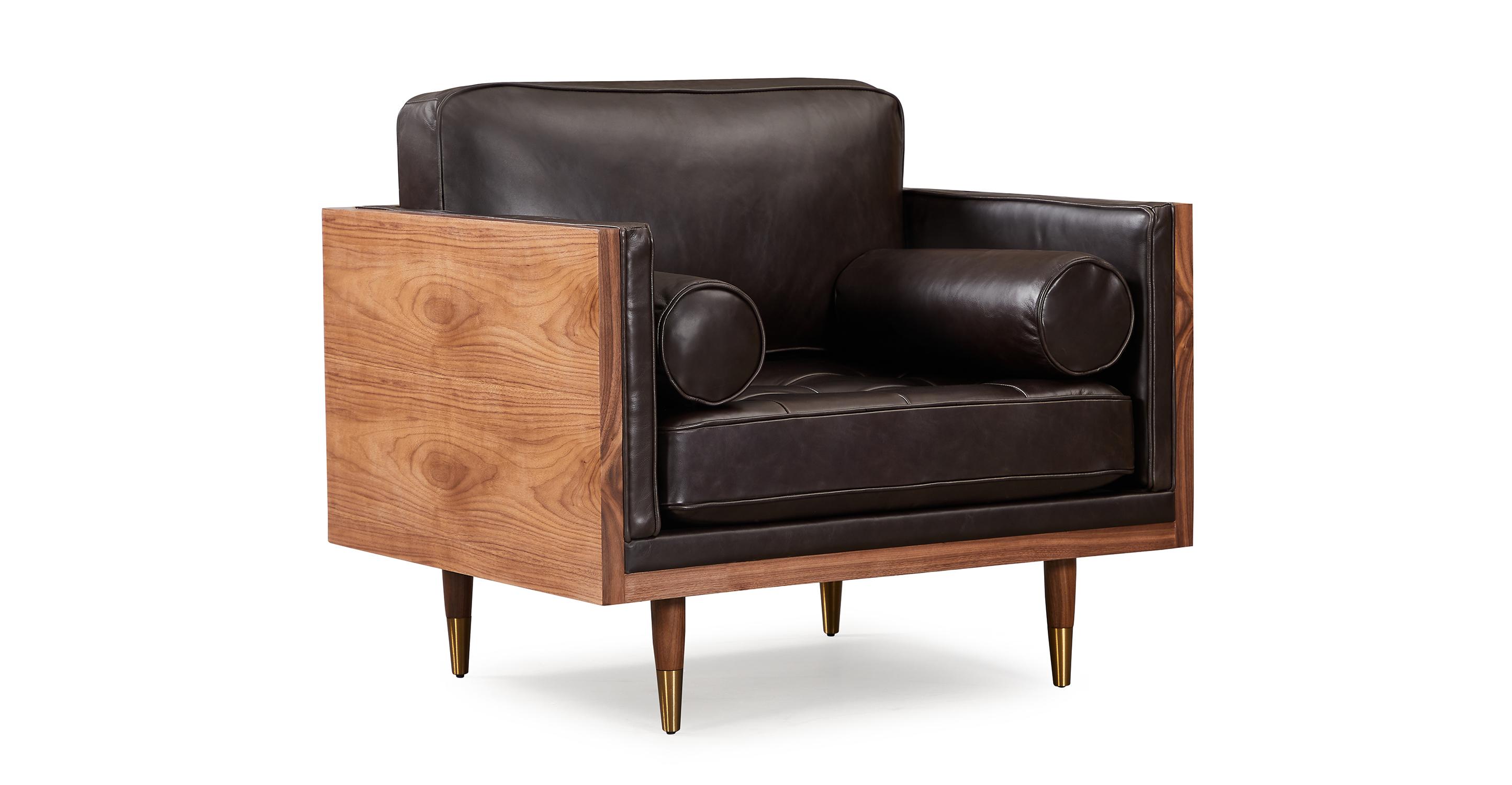 "Woodrow Skandi 39"" Leather Chair, Walnut/Saddle Black"