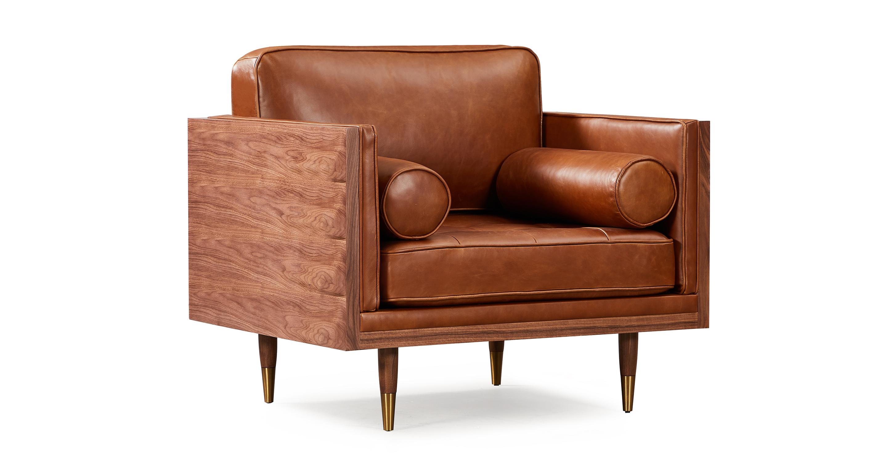 "Woodrow Skandi 39"" Leather Chair, Walnut/Saddle Brown"
