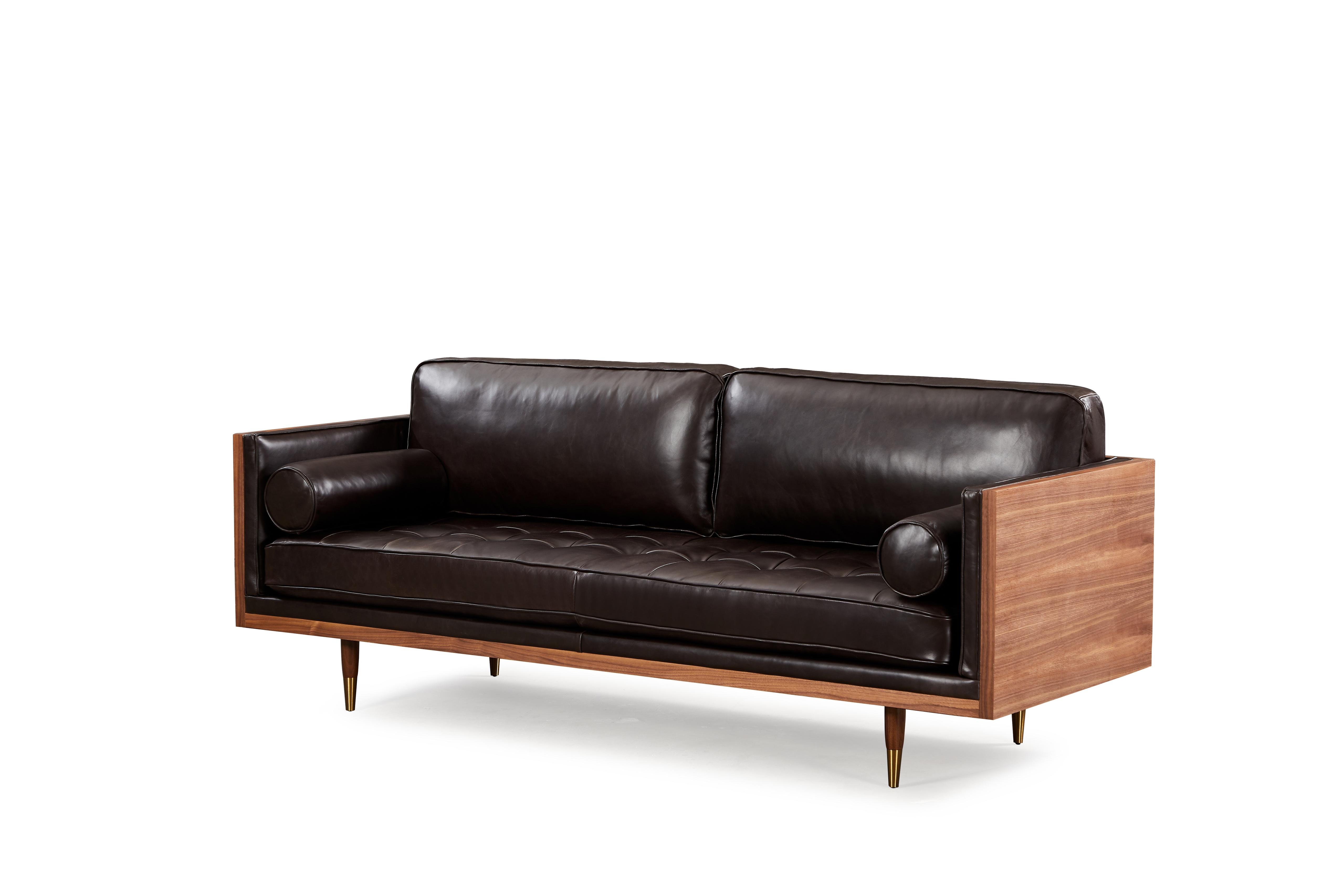 "Woodrow Skandi 87"" Leather Sofa, Walnut/Saddle Black"
