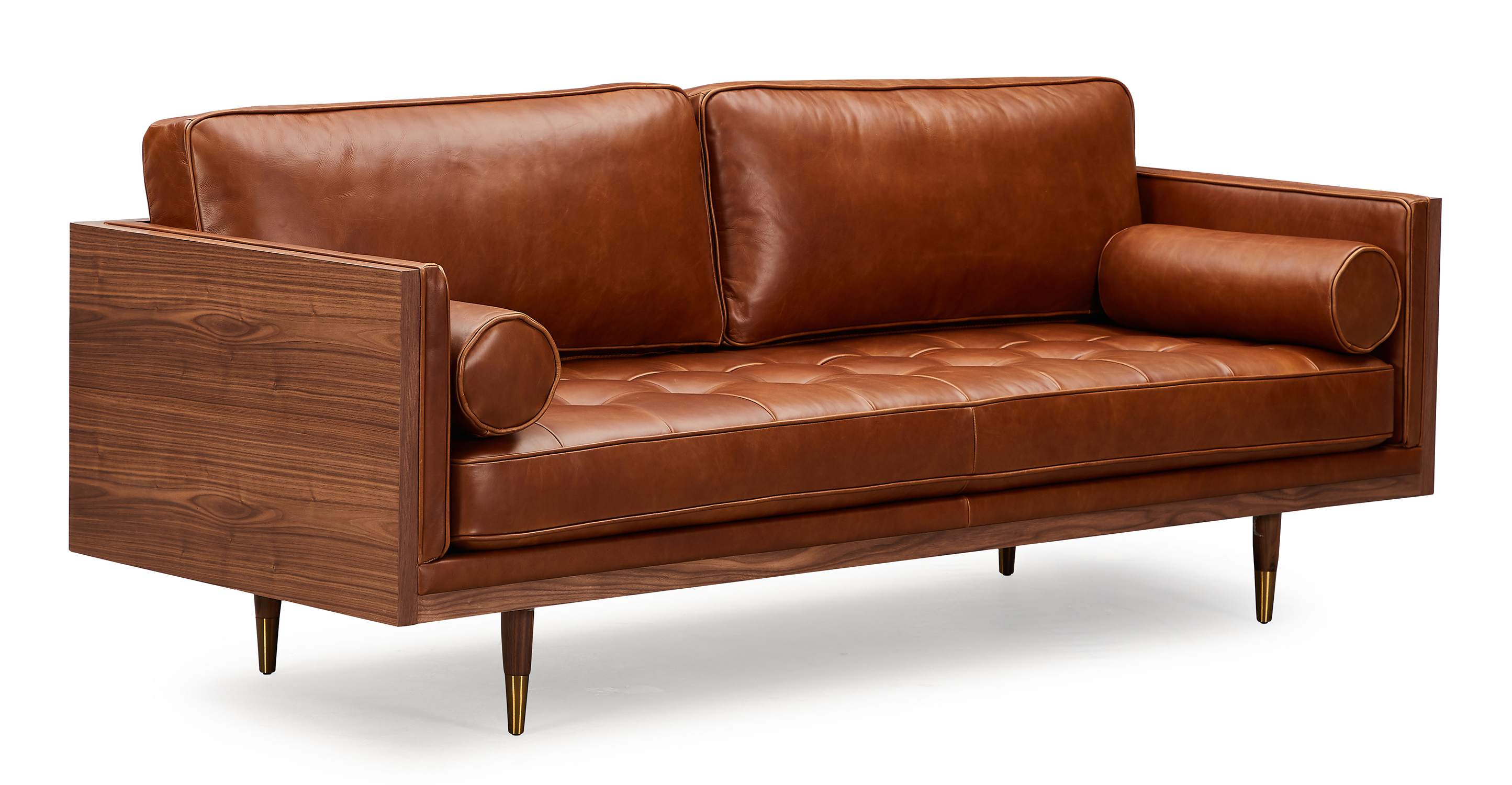 "Woodrow Skandi 87"" Leather Sofa, Walnut/Saddle Brown"