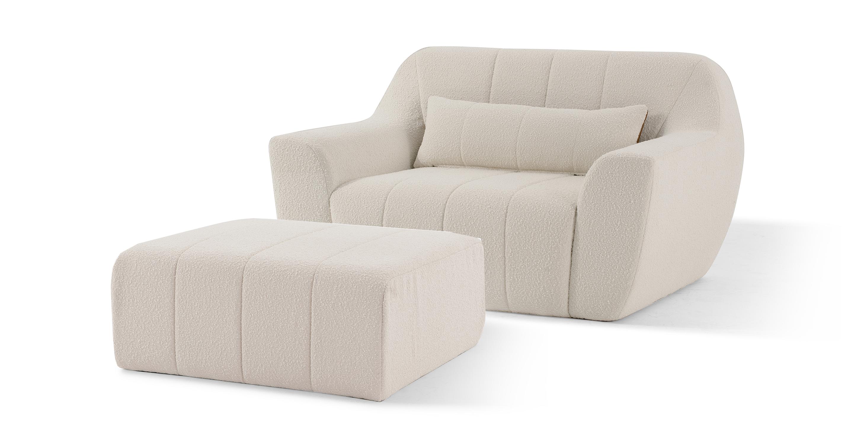 Cooper Fabric Chair & Ottoman, Blanc Boucle