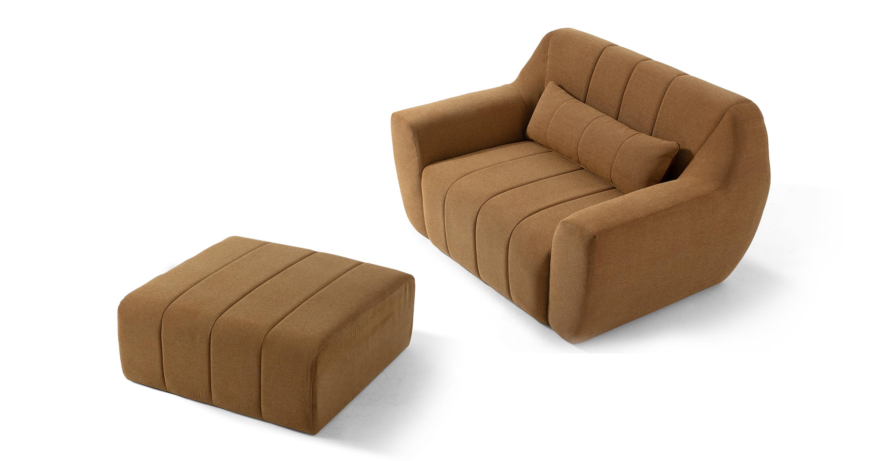 Cooper Fabric Chair & Ottoman, Cumin