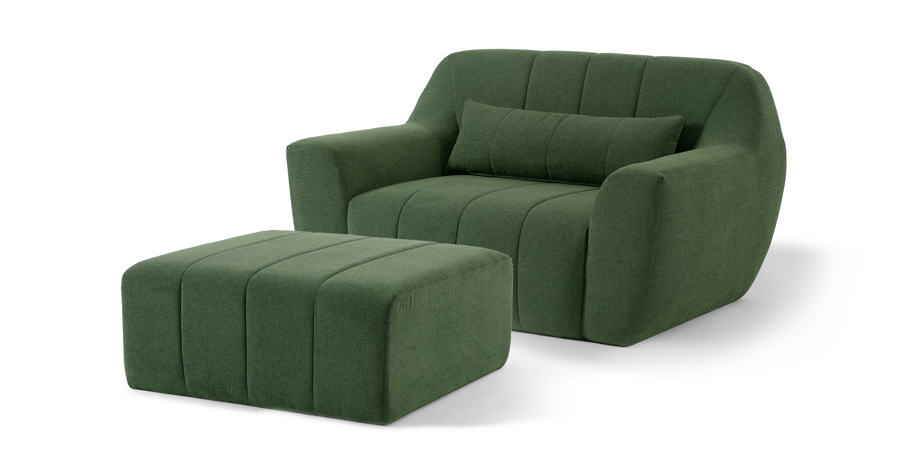 Cooper Fabric Chair & Ottoman, Thyme