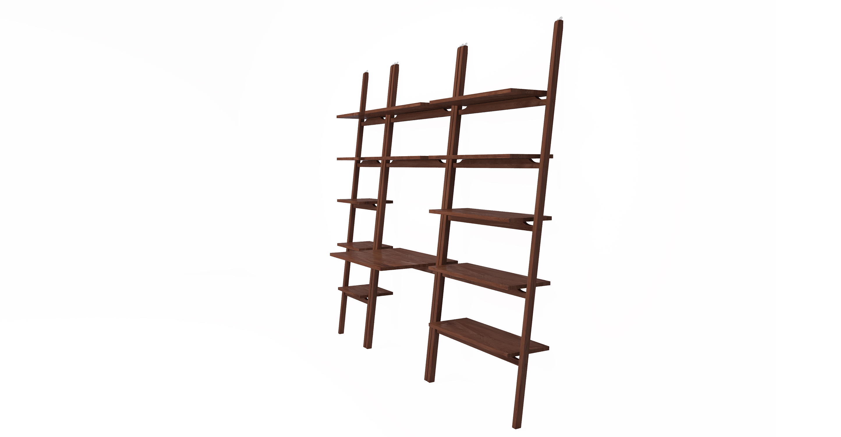"""Ladder 82"""" 3pc Shelving Desk System, Walnut Stained"""