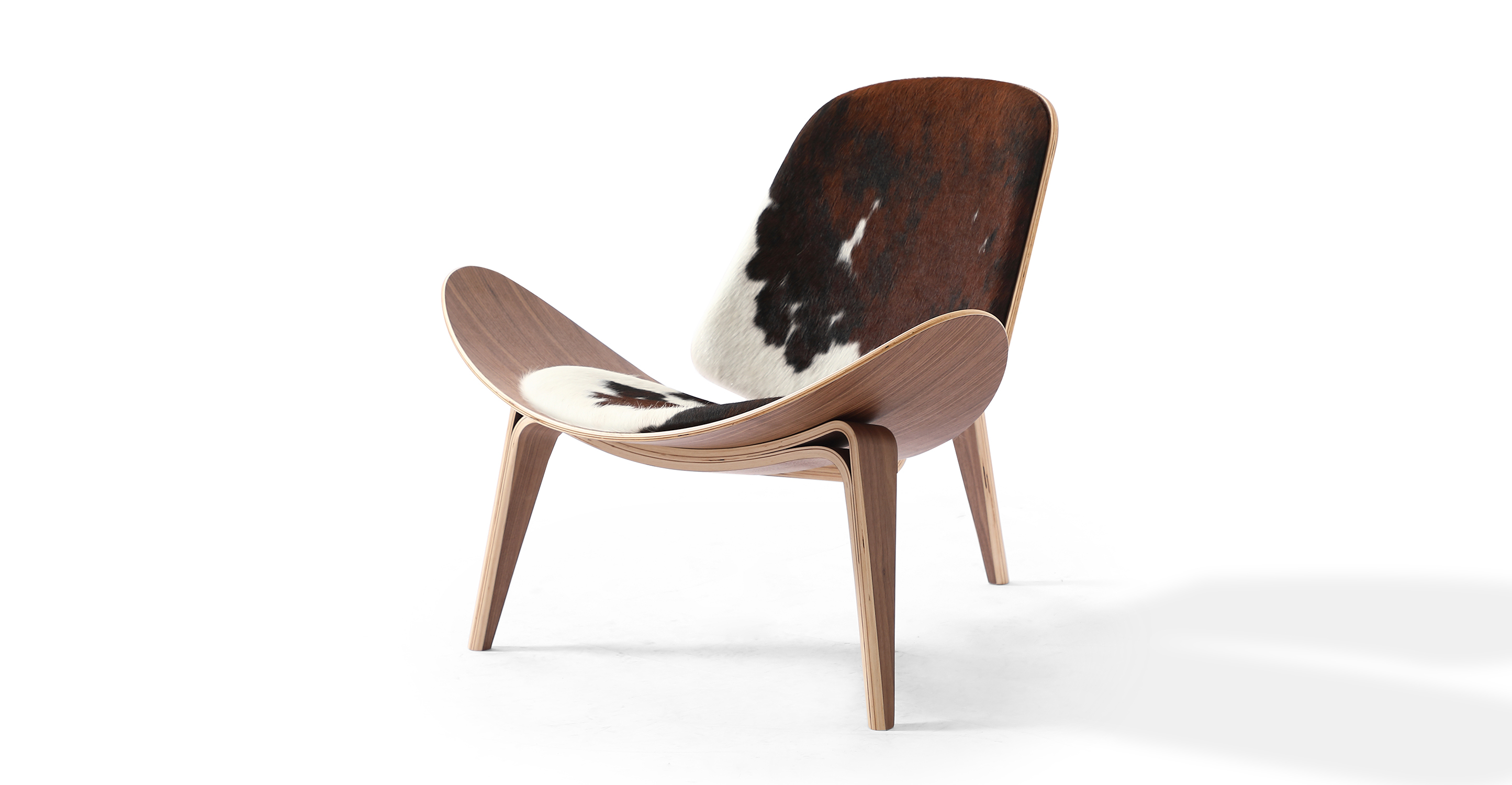 "Tripod 36"" Leather Chair, Walnut/Black, Brown & White Cowhide"