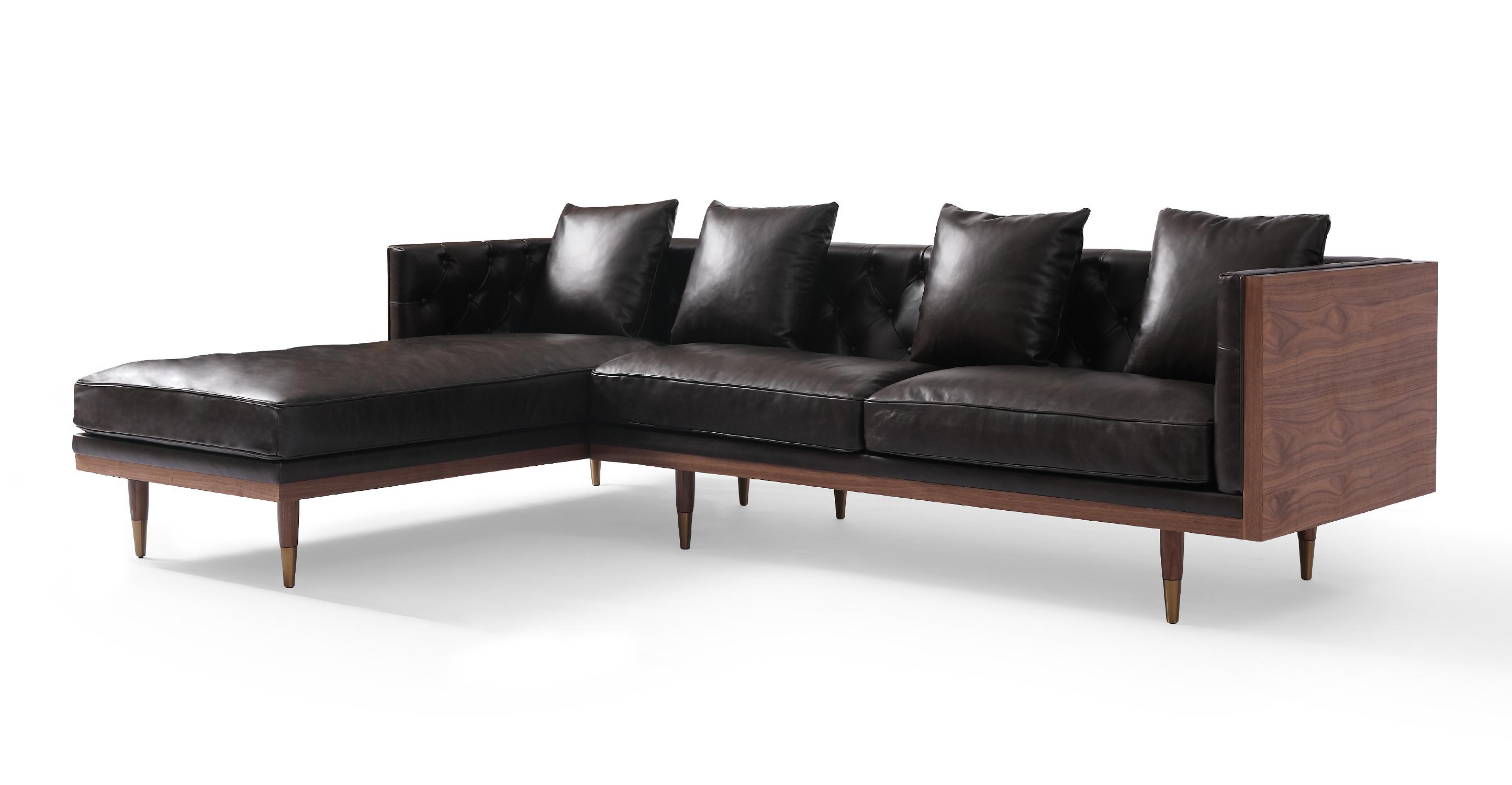 """Woodrow Neo 99"""" Leather Sofa Sectional Left, Walnut/Saddle Black"""