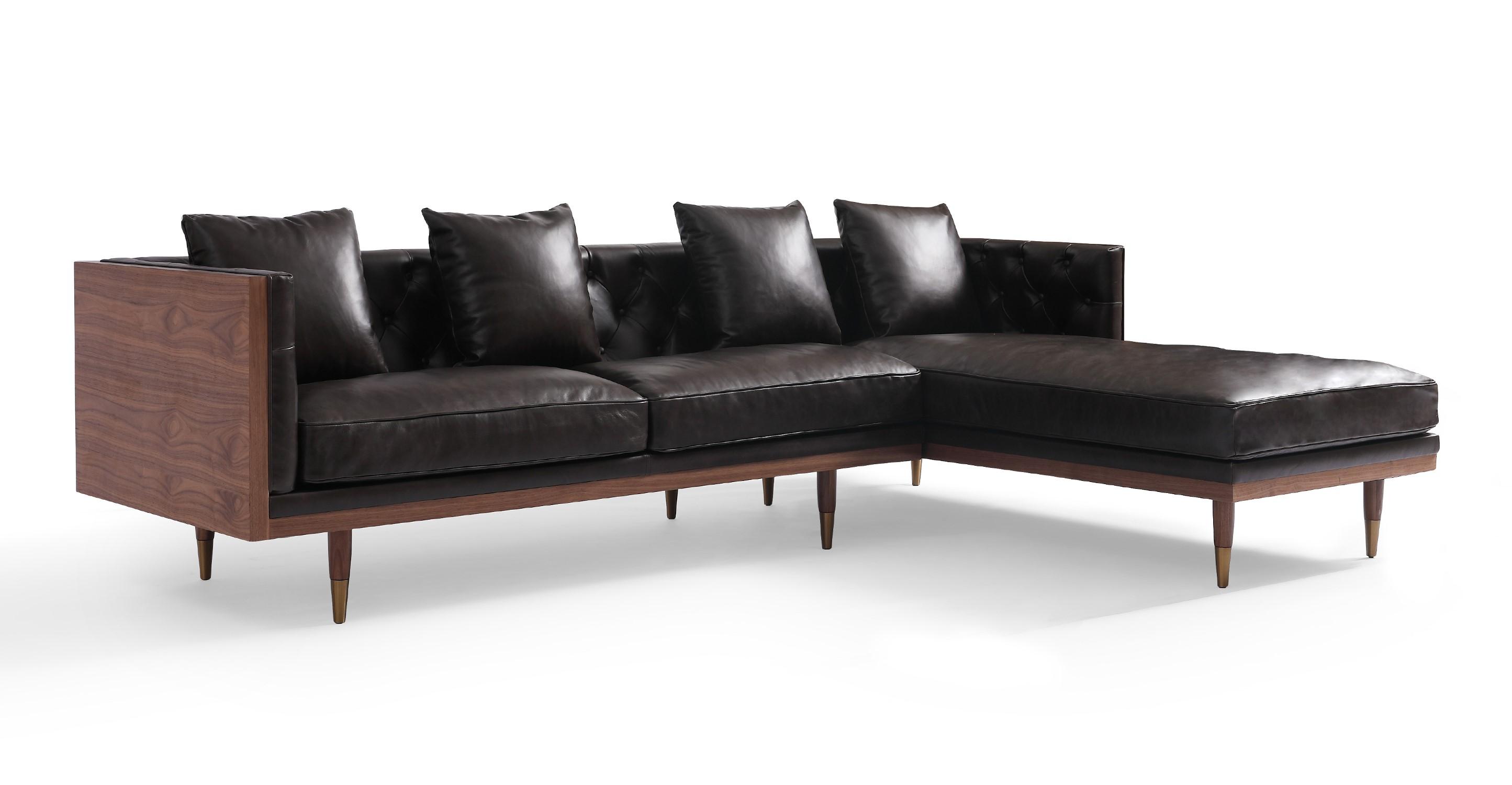 """Woodrow Neo 99"""" Leather Sofa Sectional Right, Walnut/Saddle Black"""
