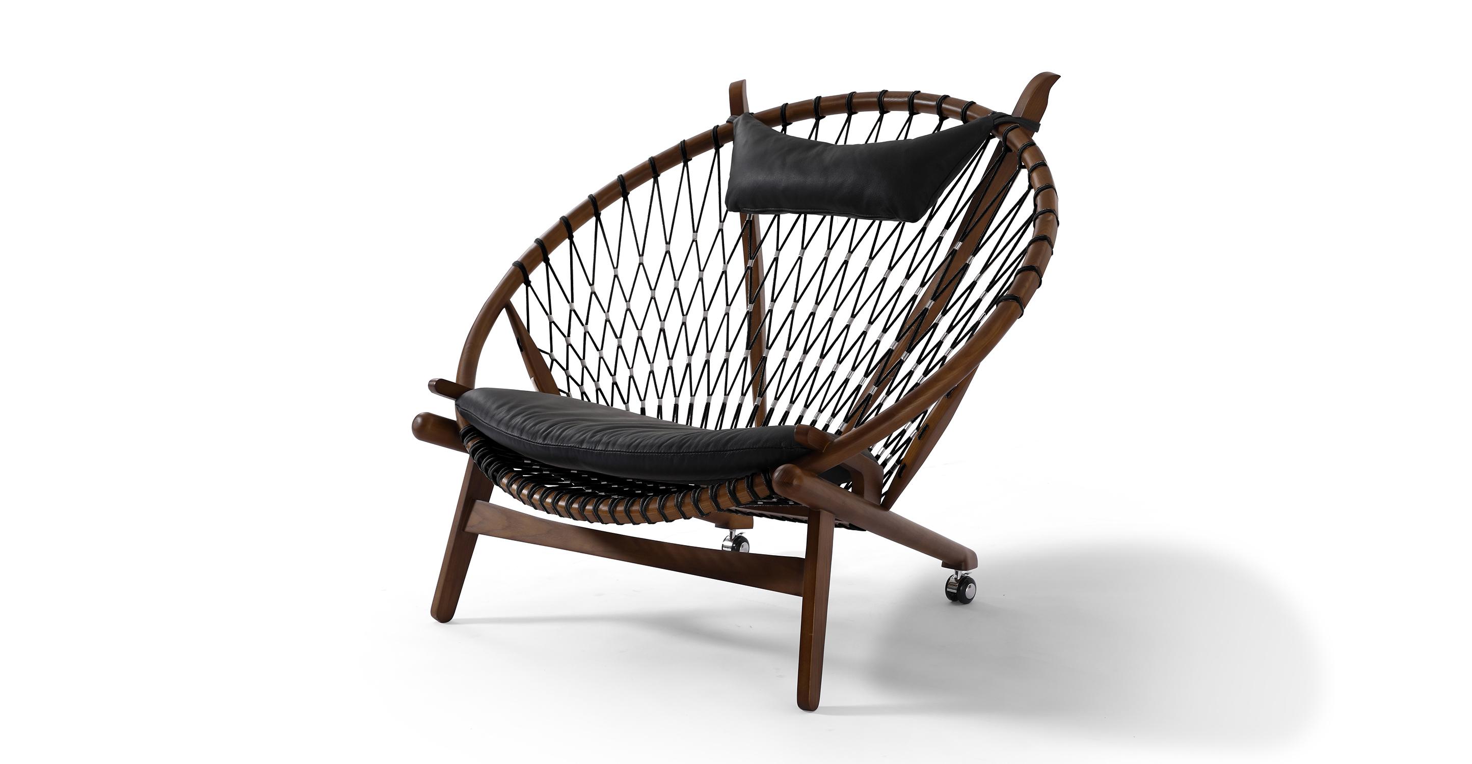 "Circle 45"" Hoop Chair, Walnut/Black Italian (Black Ropes)"