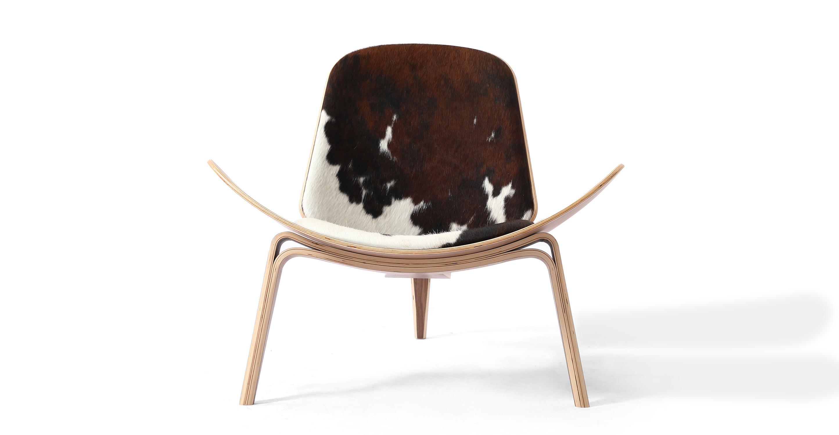 Tripod Leather Chair 2-pc Set, Walnut/Black, Brown & White Cowhide