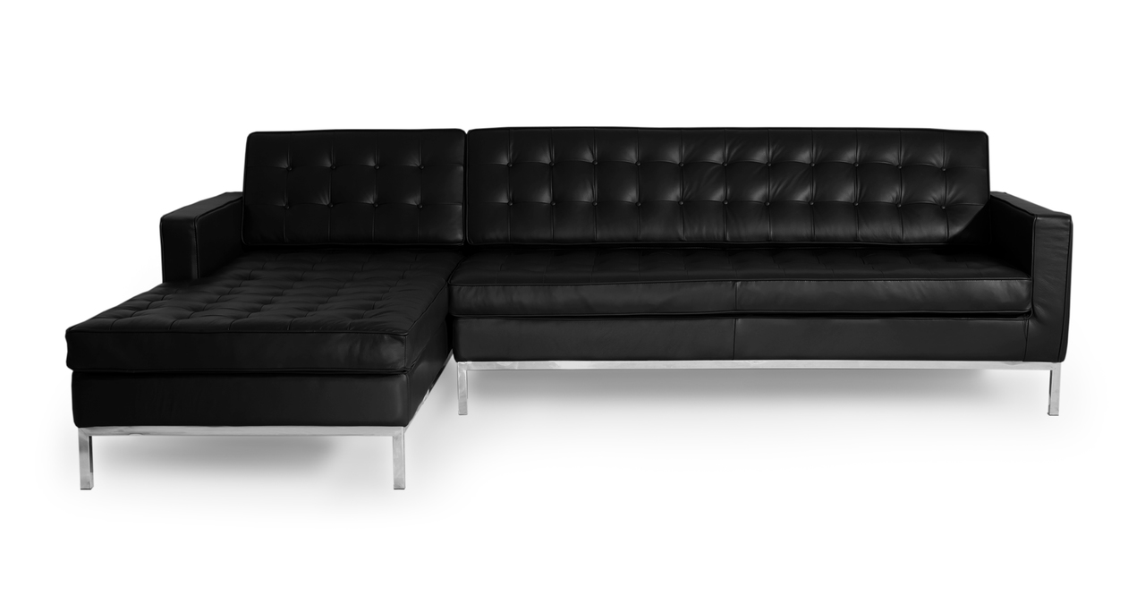 """Florence 101"""" Leather Left Sectional, Black Premium Leather"""