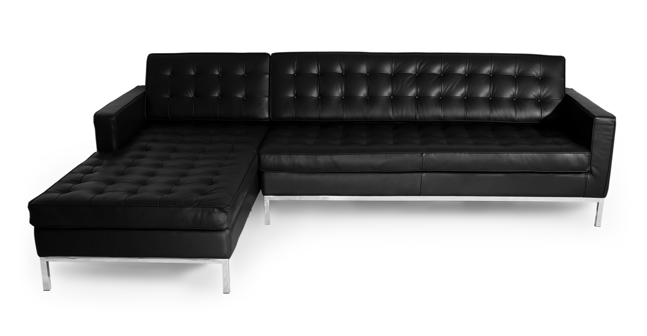 "Florence 101"" Leather Left Sectional, Black"