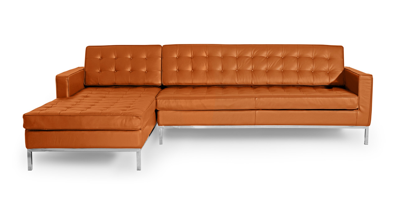 Florence Left Sectional, Caramel Premium Leather