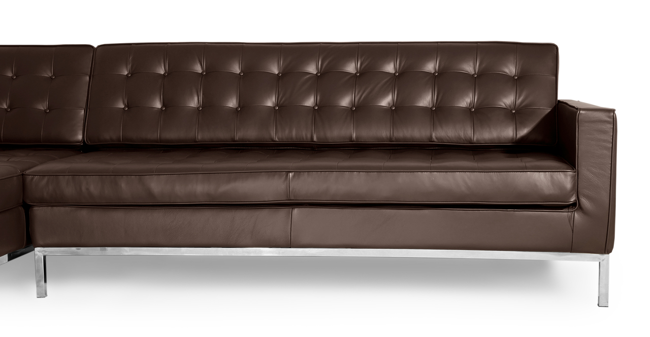 Florence Left Sectional, Choco Brown Premium Leather