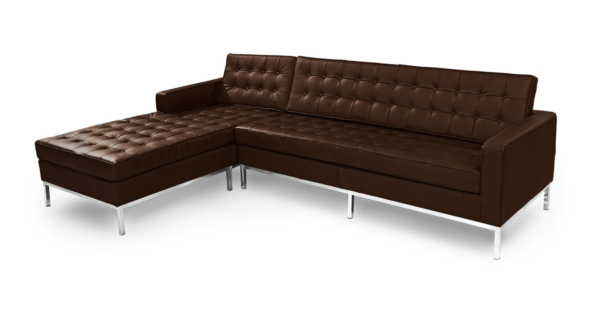 """Florence 101"""" Leather Left Sectional, Espresso"""