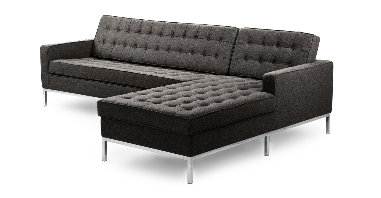 """Florence 101"""" Fabric Right Sectional, Charcoal"""