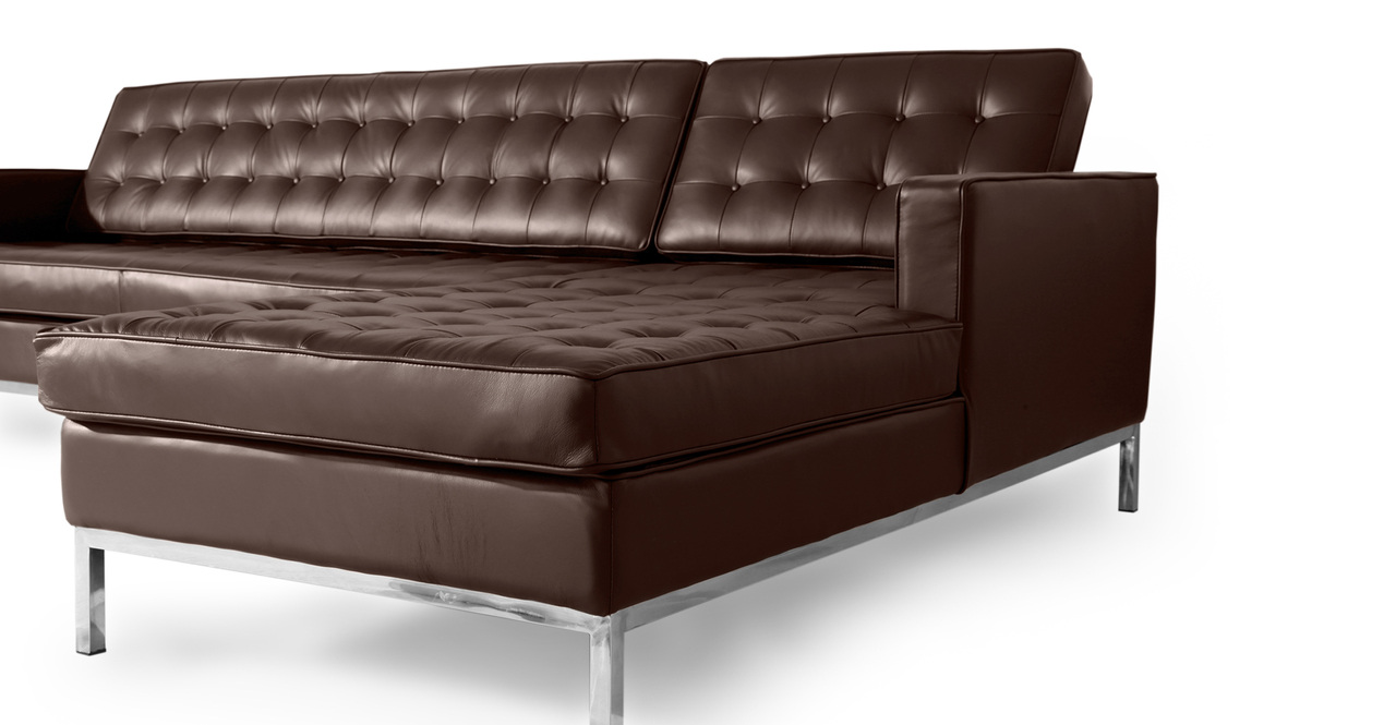 Florence Right Sectional, Choco Brown Premium Leather