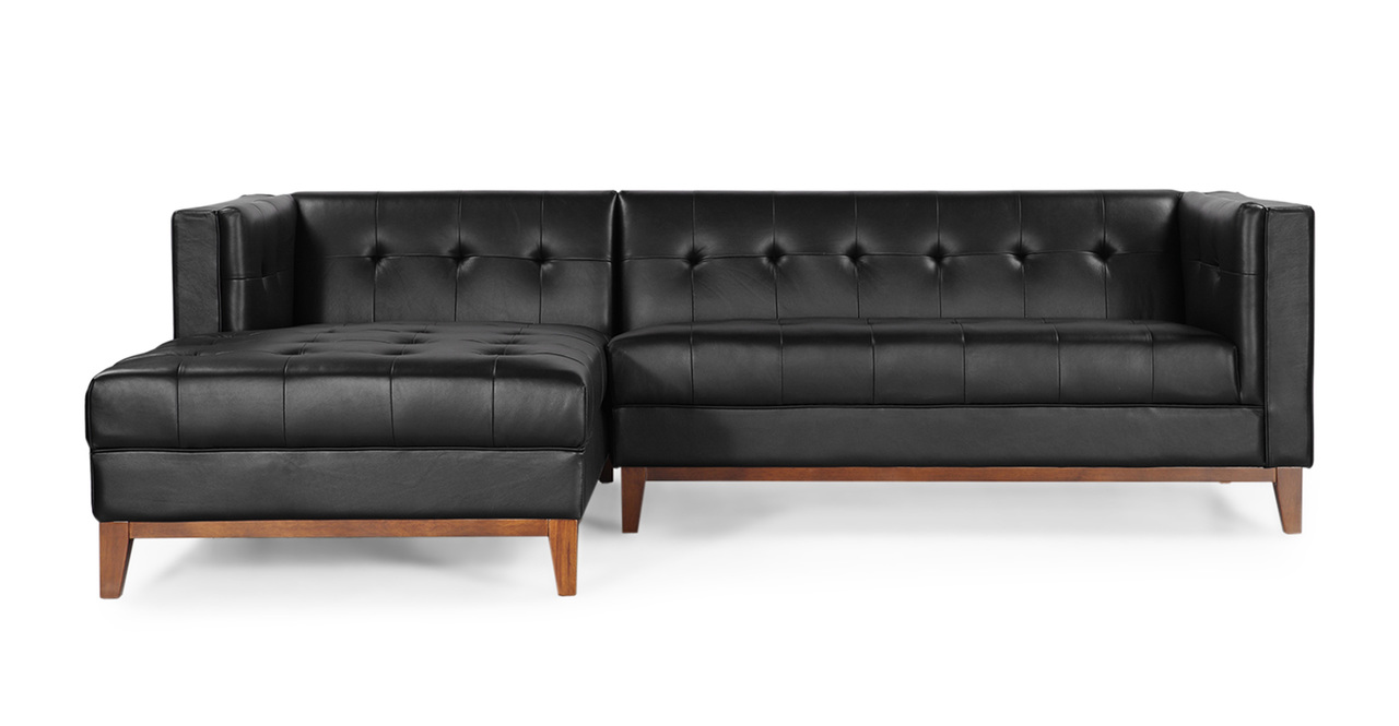 Harrison Chaise Sectional-Left, Black Premium Leather