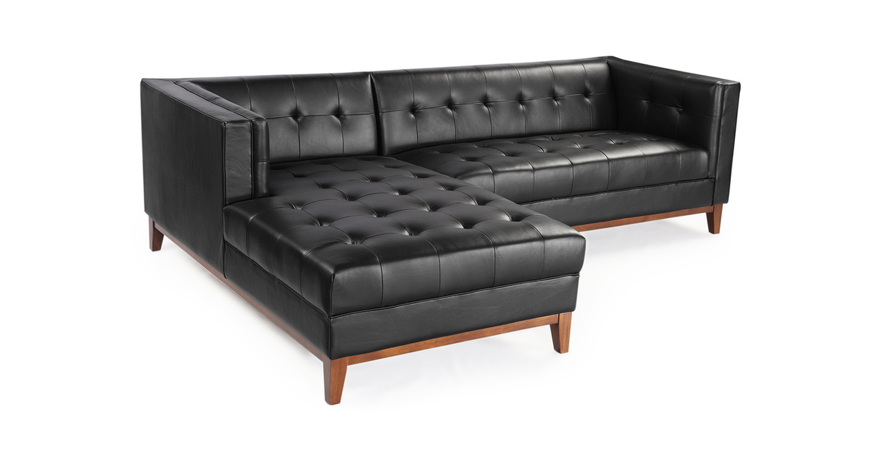 Harrison Chaise Sectional-Left, Black Premium Leather
