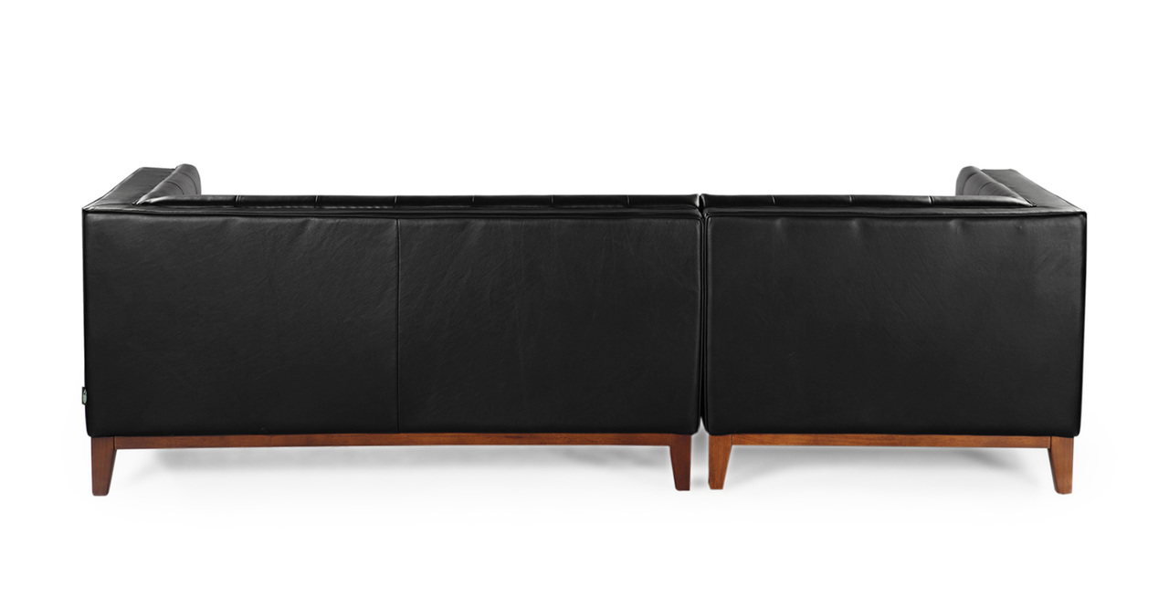 Harrison Chaise Sectional-Left, Black Premium Leather ...