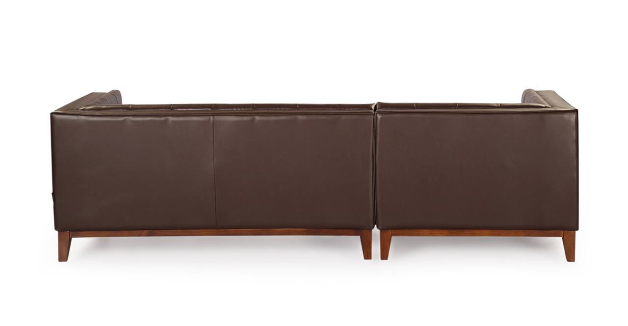 Harrison Chaise Sectional-Left, Bolivarian Brown Premium Leather