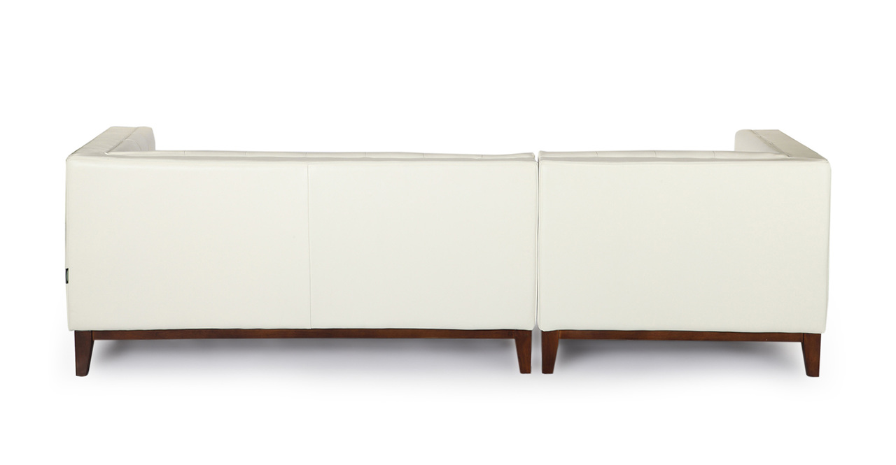 Harrison Chaise Sectional-Left, White Premium Leather