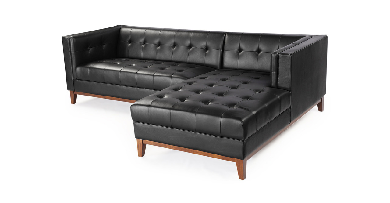Harrison Chaise Sectional-Right, Black Premium Leather