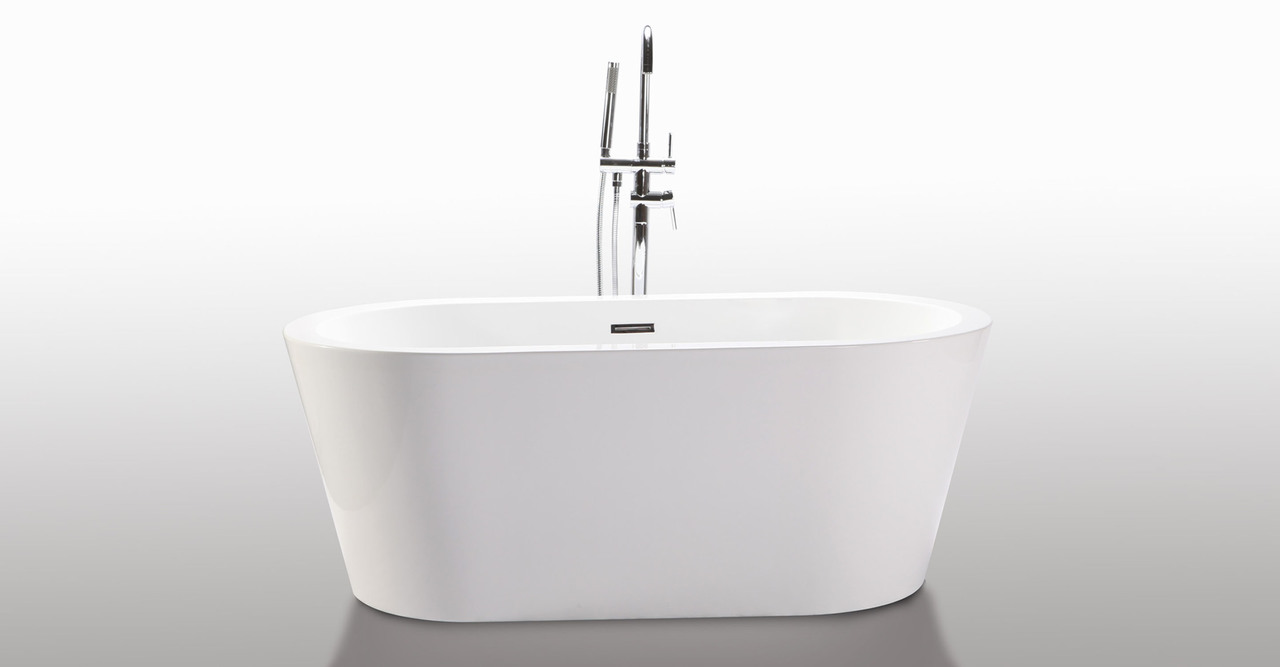 "Pella Bathtub 59"" Rectangle Overflow, White"